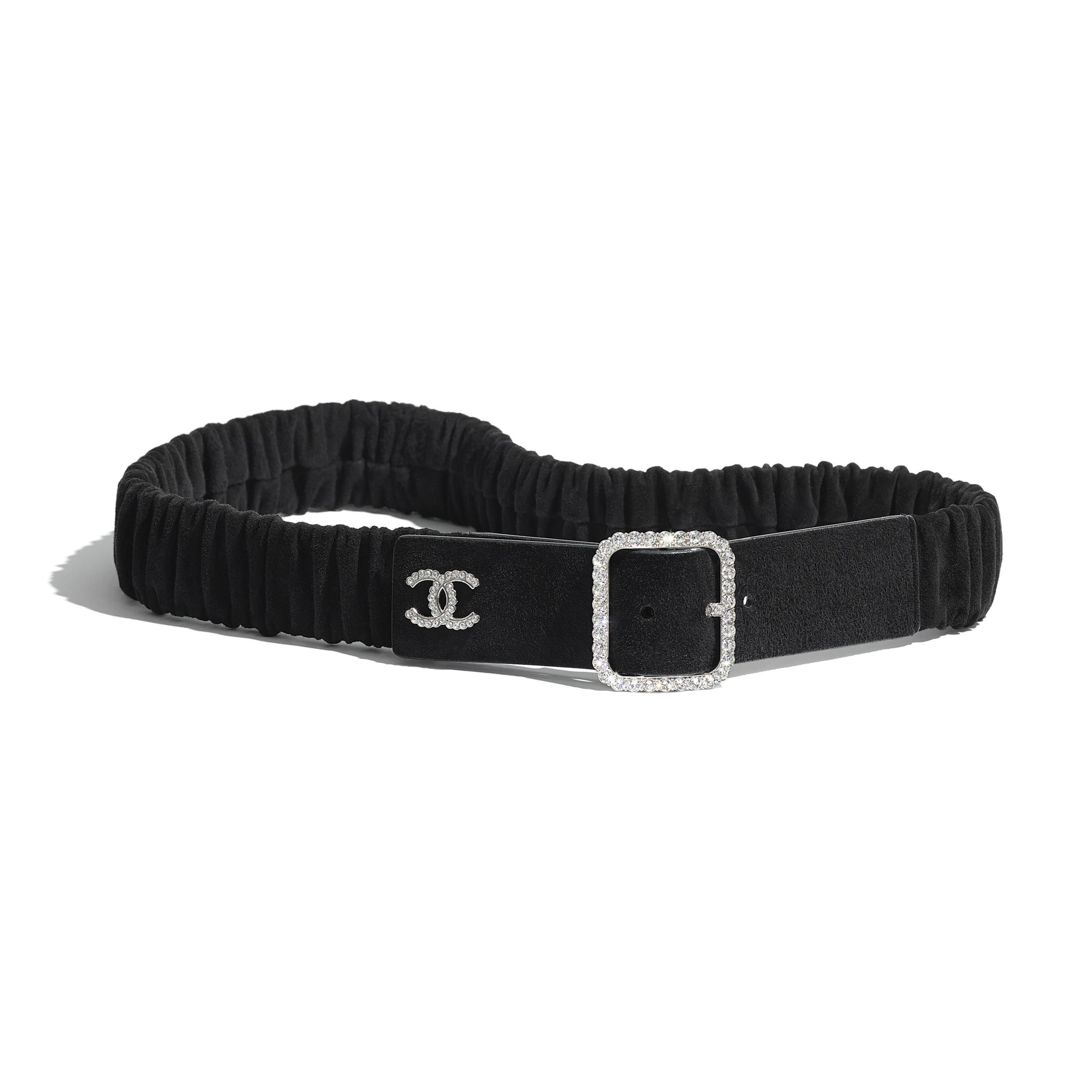 Belt - Black -  Goatskin, Silver-Tone Metal & Diamante - CHANEL - Default view - see standard sized version