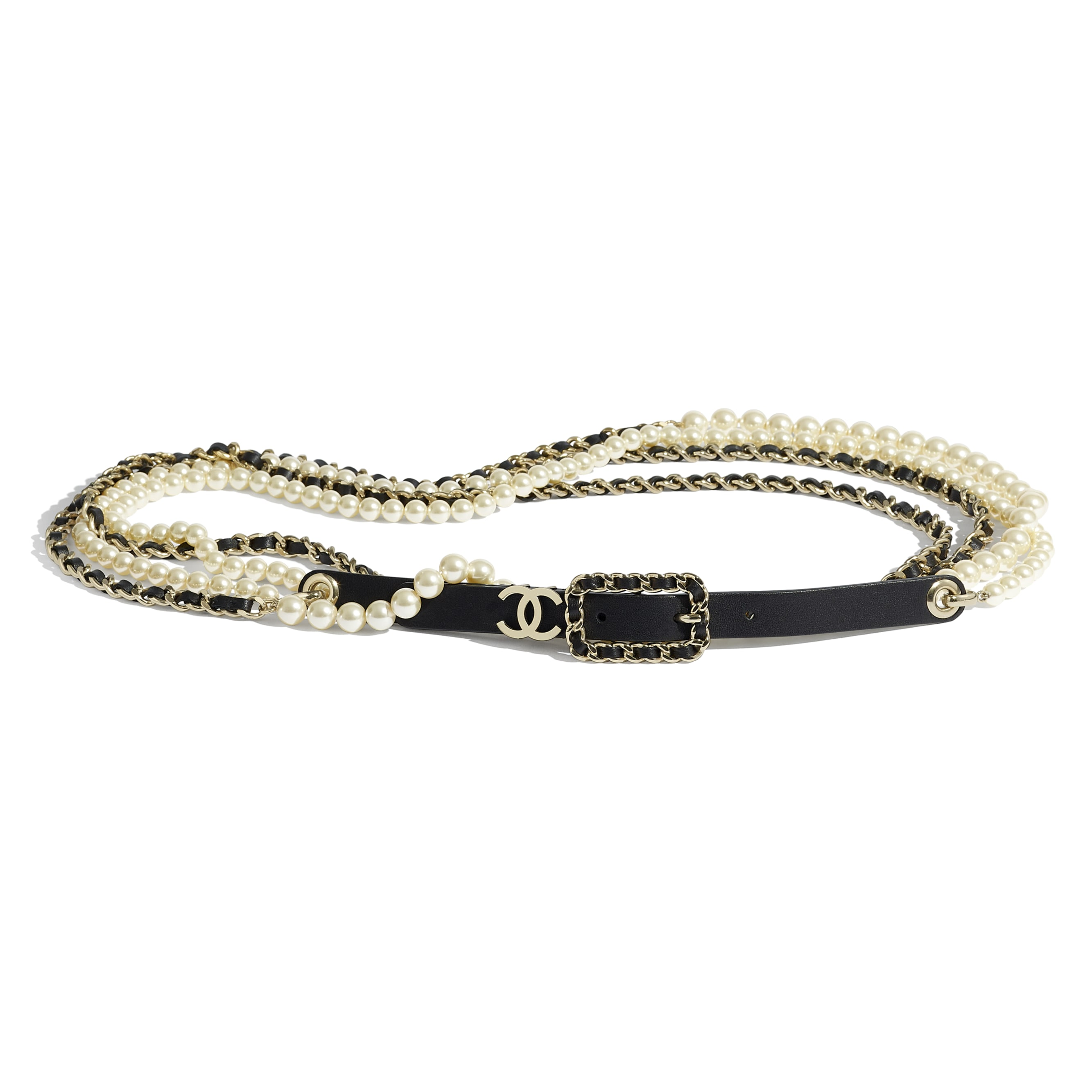 Belt - Black - Lambskin, Glass Pearls & Gold-Tone Metal - CHANEL - Default view - see standard sized version