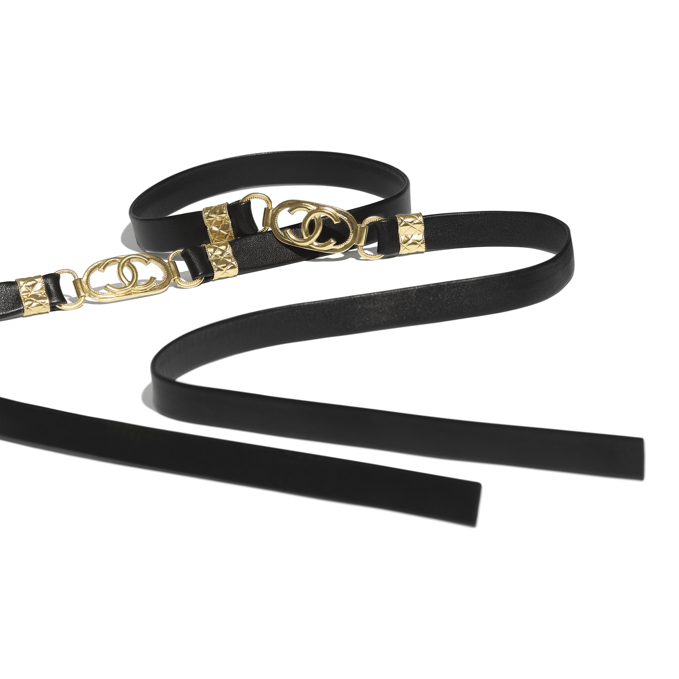 Belt - Black - Lambskin & Gold Metal  - CHANEL - Alternative view - see standard sized version
