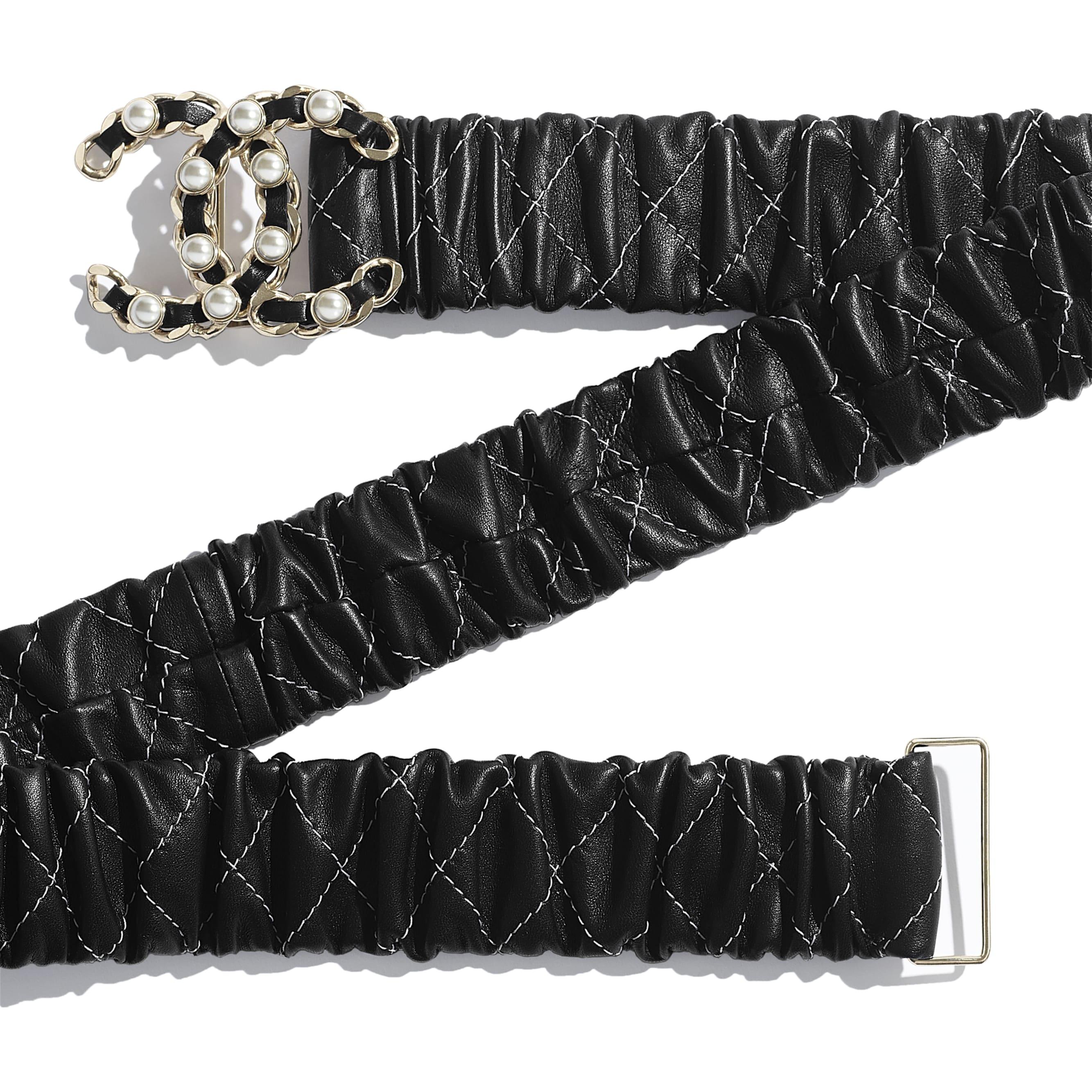 Belt - Black - Lambskin, Gold-Tone Metal & Glass Pearls - Alternative view - see standard sized version