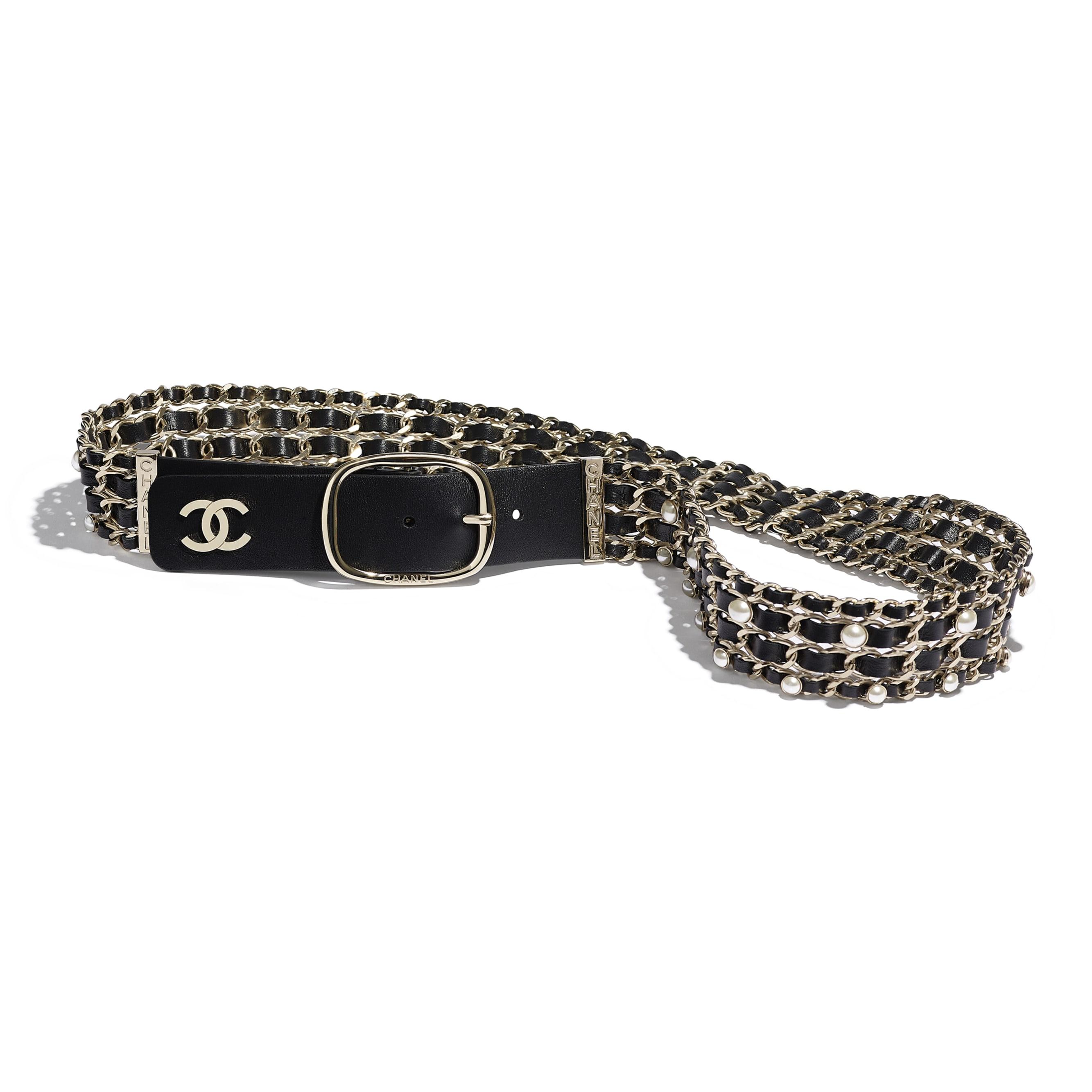 Belt - Black - Lambskin, Gold-Tone Metal & Glass Pearls - Default view - see standard sized version