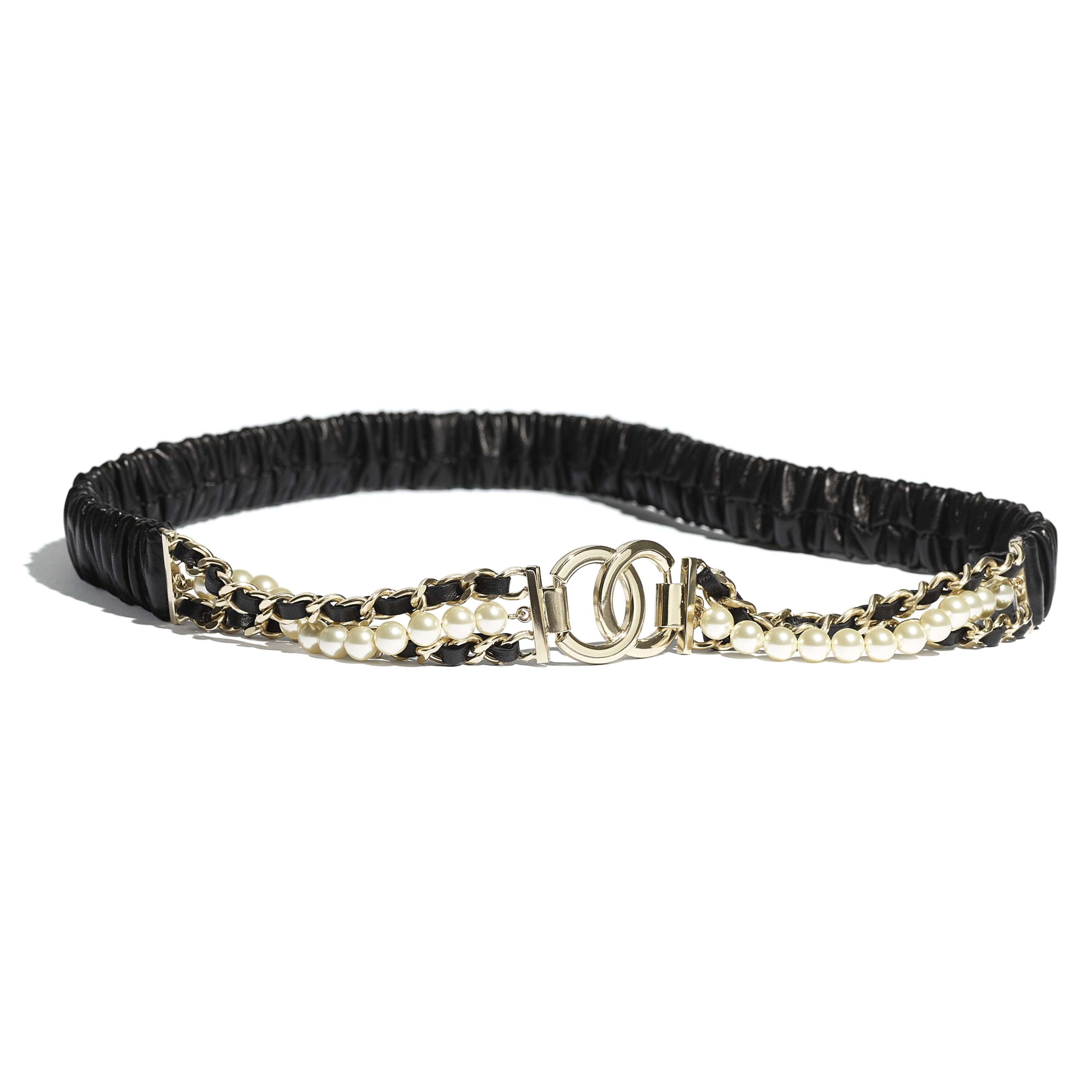 Belt - Black - Lambskin, Gold-Tone Metal, Glass Pearls & Strass - CHANEL - Default view - see standard sized version