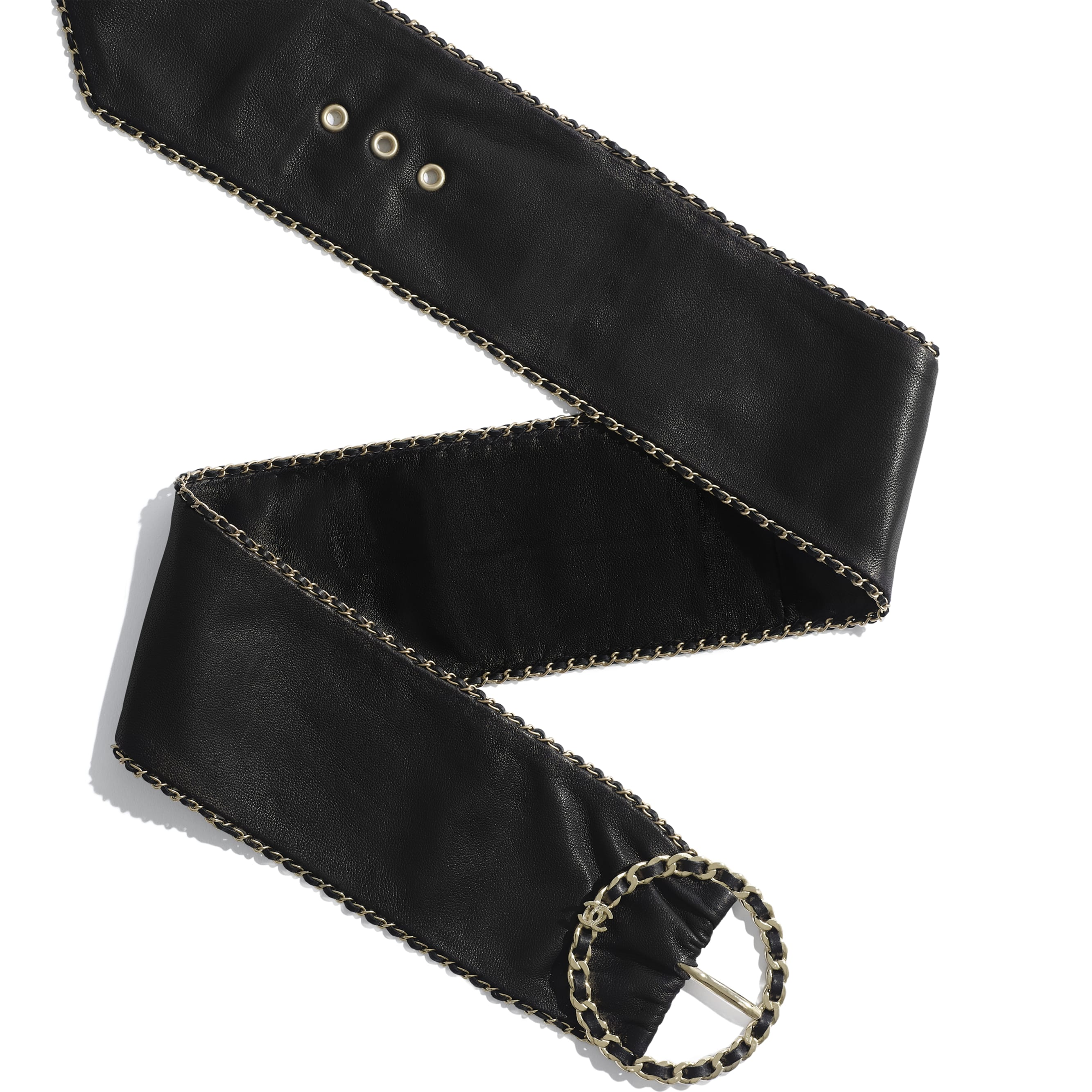 Belt - Black - Lambskin & Gold-Tone Metal - Alternative view - see standard sized version