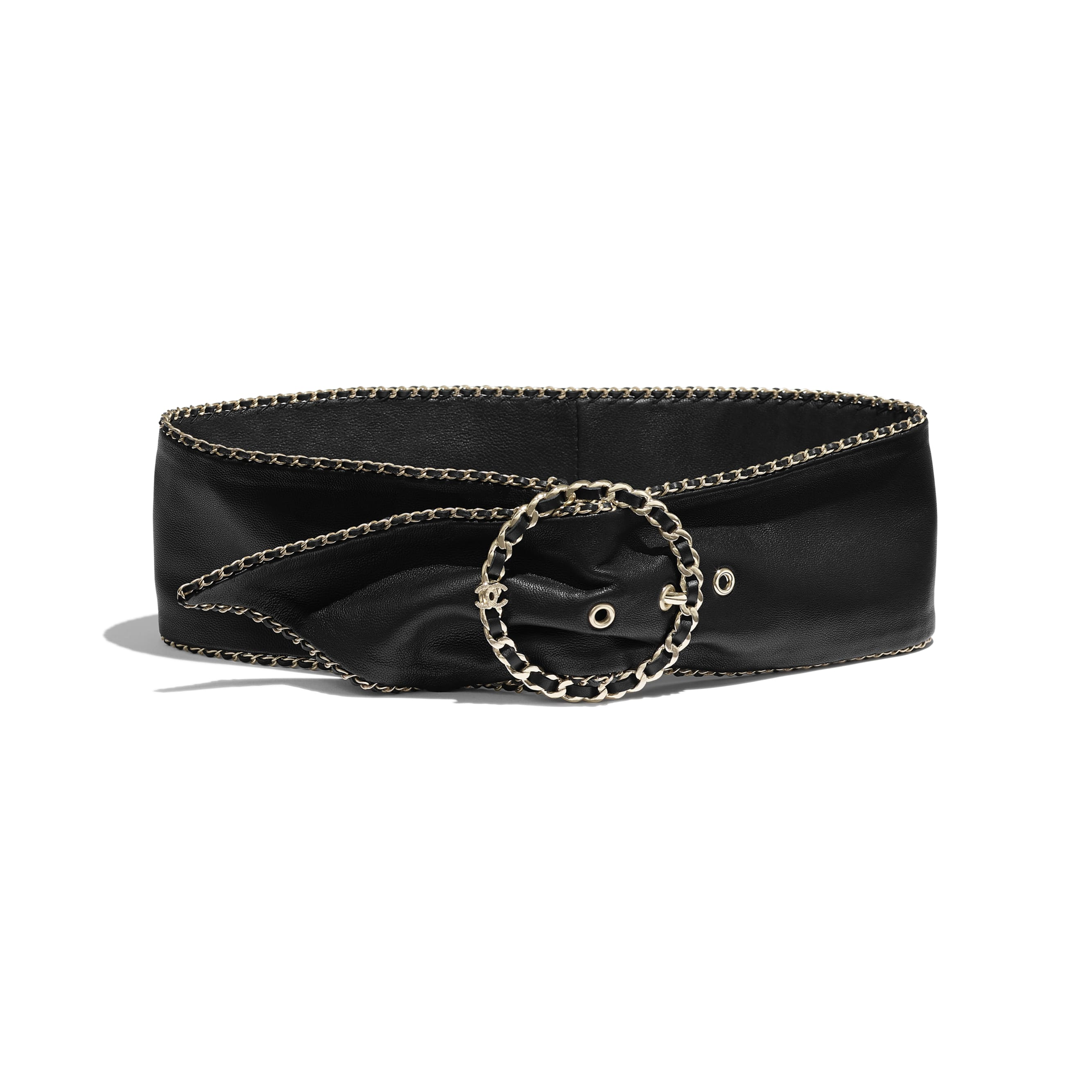Belt - Black - Lambskin & Gold-Tone Metal - Default view - see standard sized version