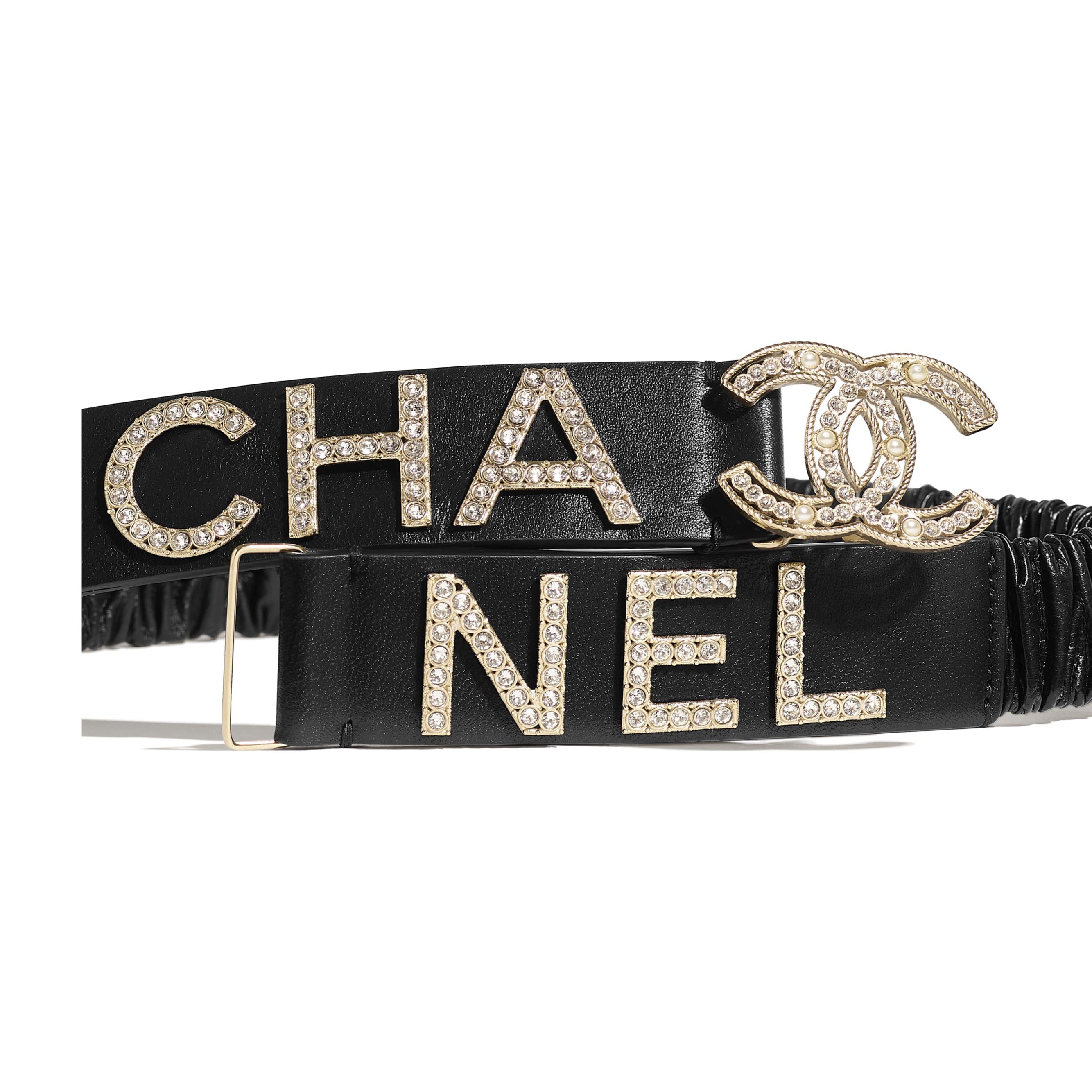 Belt - Black - Lambskin, Gold-Tone Metal, Strass & Glass - Alternative view - see standard sized version