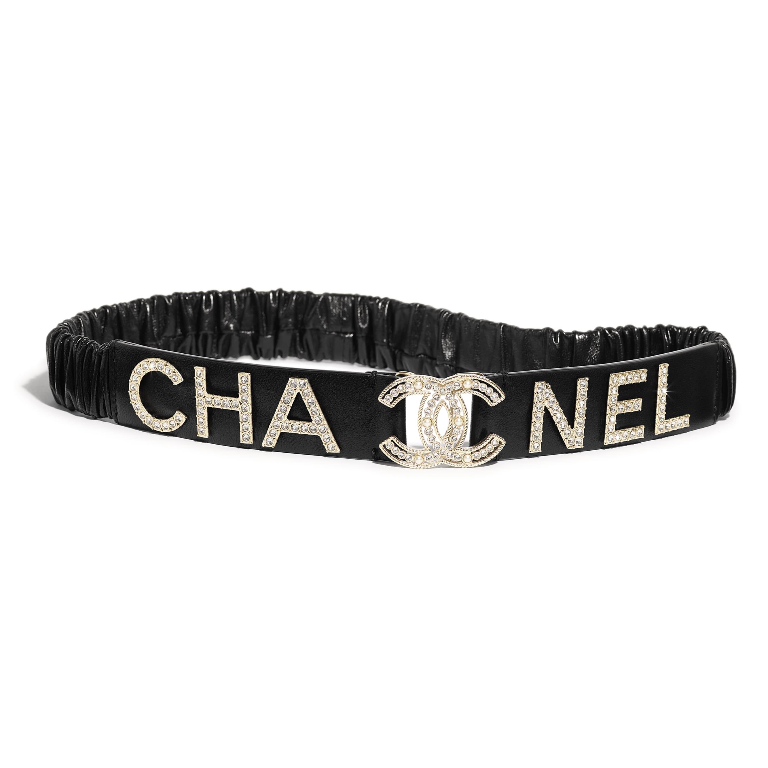Belt - Black - Lambskin, Gold-Tone Metal, Strass & Glass - Default view - see standard sized version
