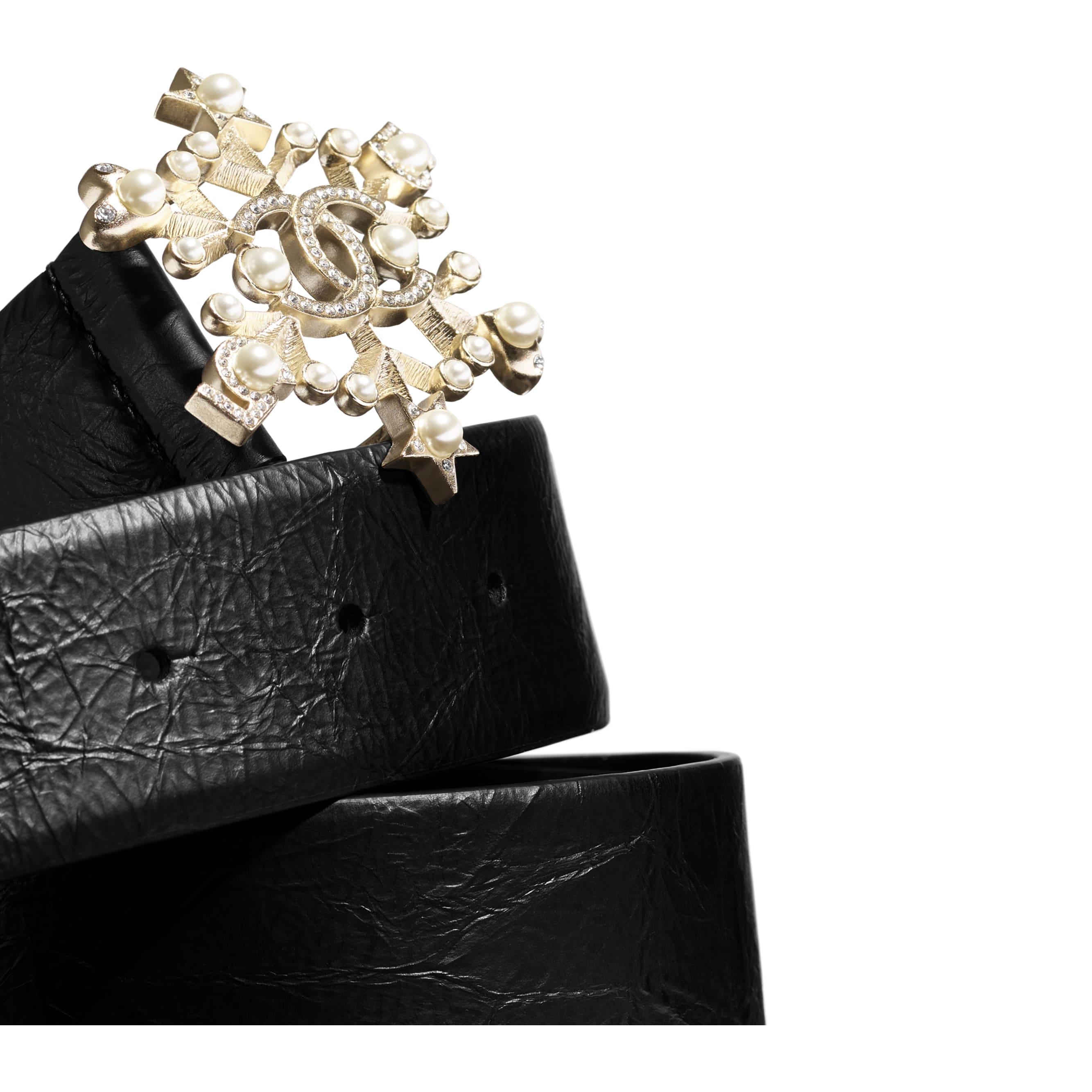Belt - Black, Pearly White & Crystal - Calfskin, Gold-Tone Metal, Diamanté  & Glass - Alternative view - see standard sized version