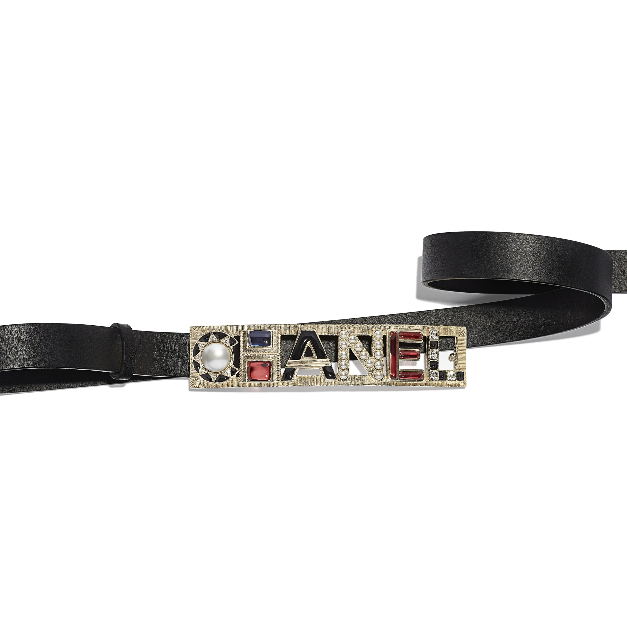 Belt - Black & Red - Calfskin, Gold-Tone Metal, Strass, Glass & Resin - Alternative view - see standard sized version