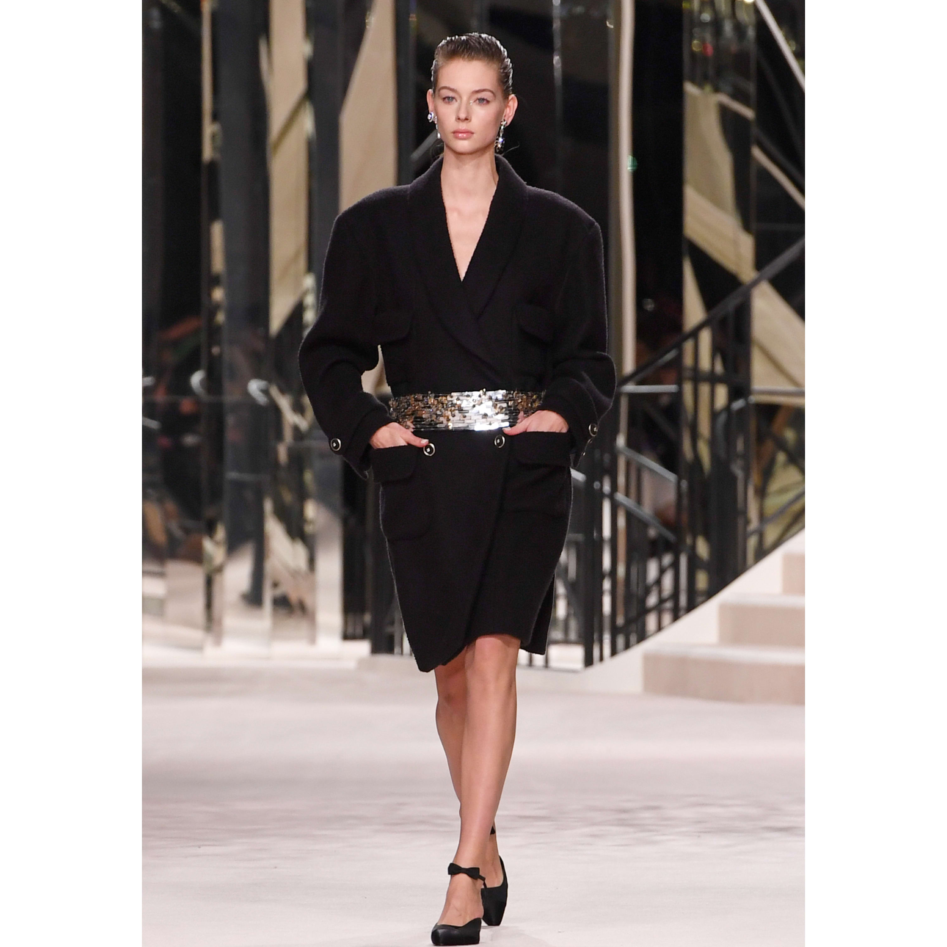 Belt - Black - Silk Crepe Embroidered - CHANEL - Default view - see standard sized version