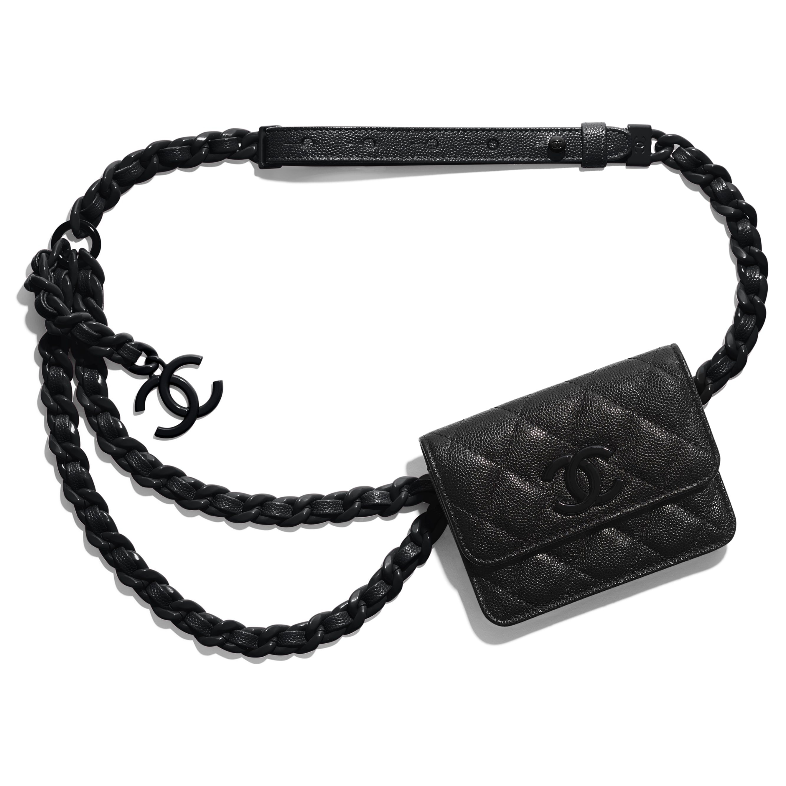 Belt Flap Card Holder - Black - Grained Calfskin & Lacquered Metal - CHANEL - Default view - see standard sized version