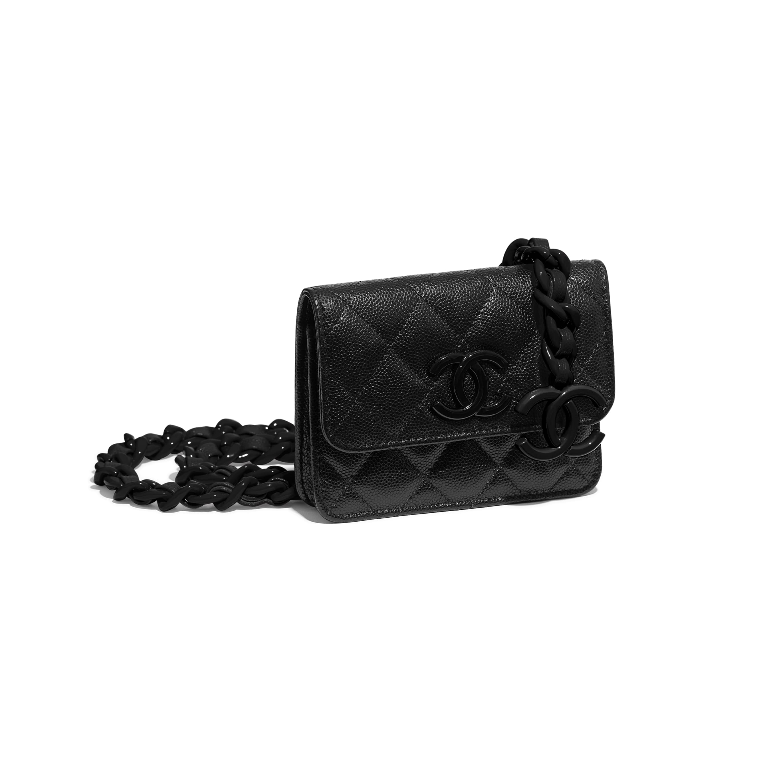 Belt Flap Card Holder - Black - Grained Calfskin & Lacquered Metal - CHANEL - Extra view - see standard sized version