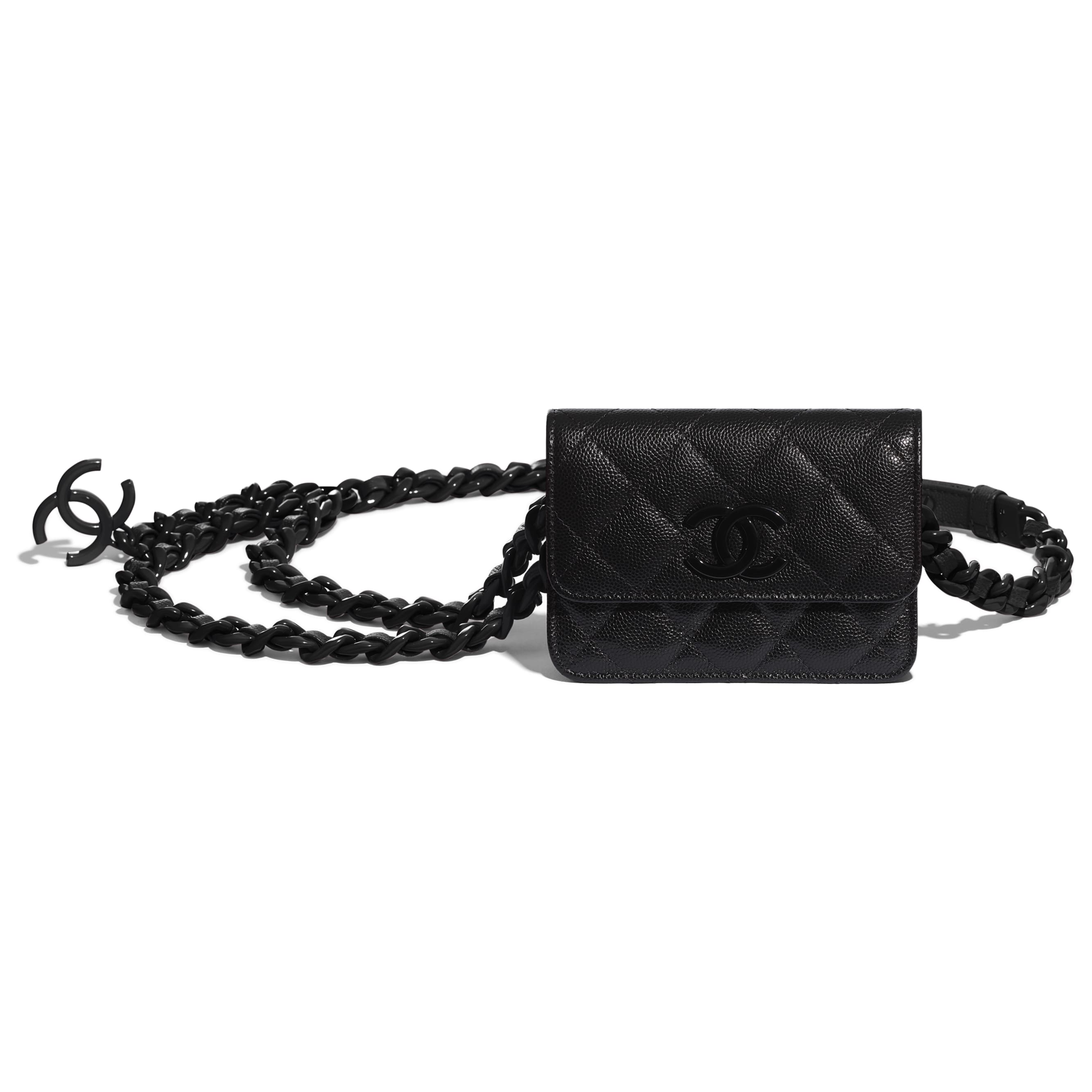 Belt Flap Card Holder - Black - Grained Calfskin & Lacquered Metal - CHANEL - Other view - see standard sized version
