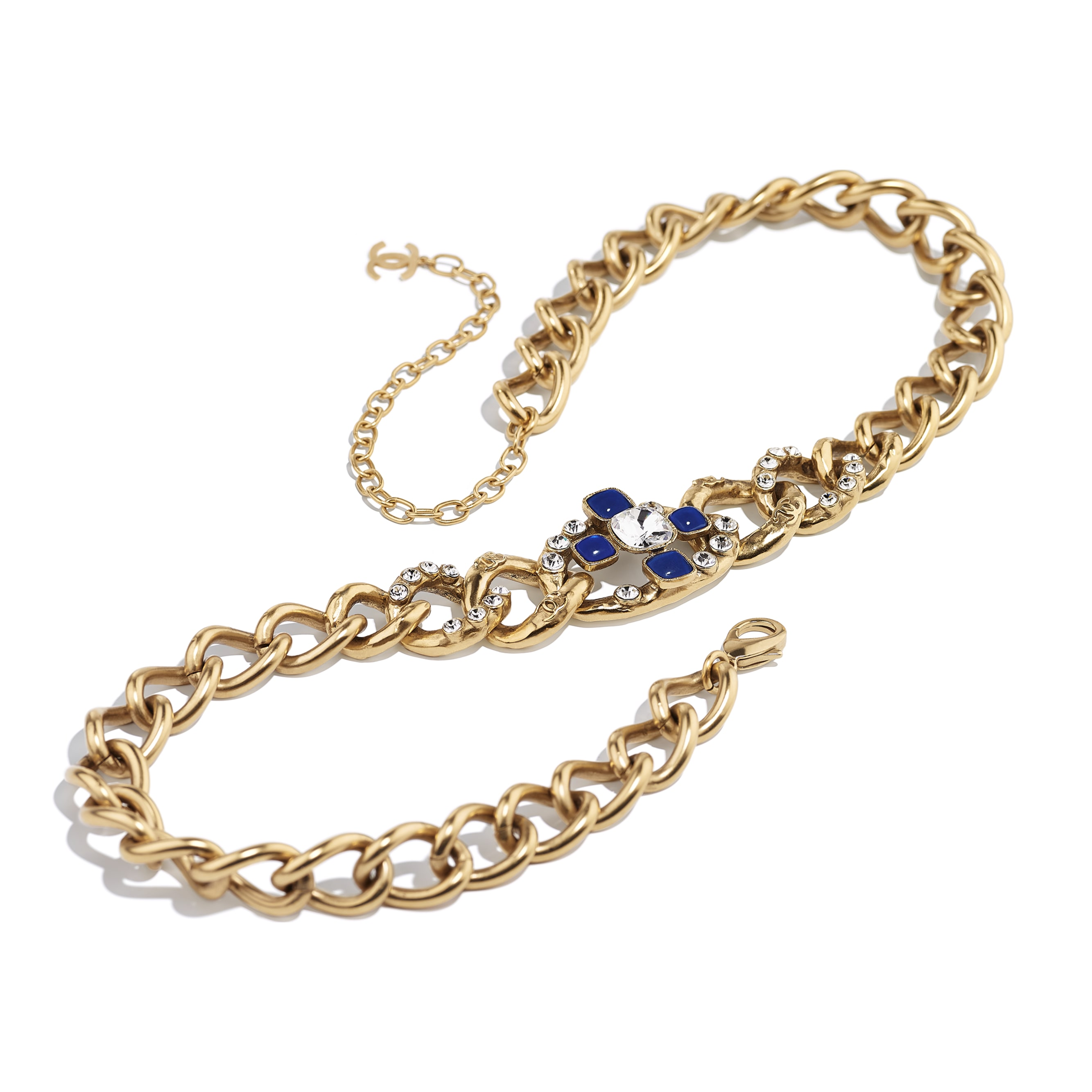 Belt - Gold, Blue & Crystal - Metal, Glass & Diamanté - CHANEL - Alternative view - see standard sized version