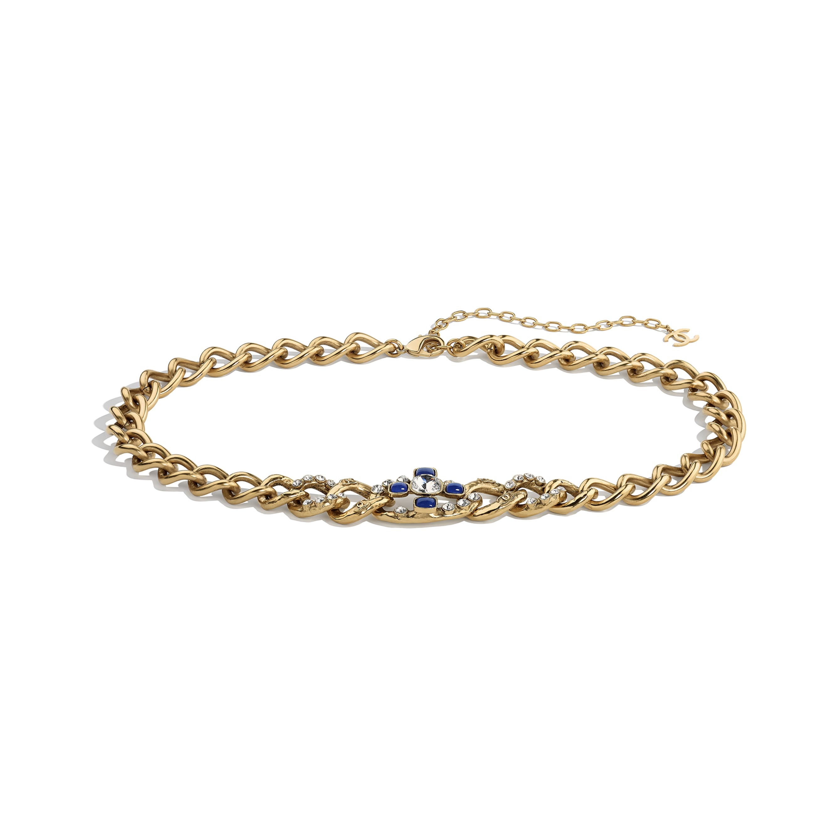 Belt - Gold, Blue & Crystal - Metal, Glass & Diamanté - CHANEL - Default view - see standard sized version