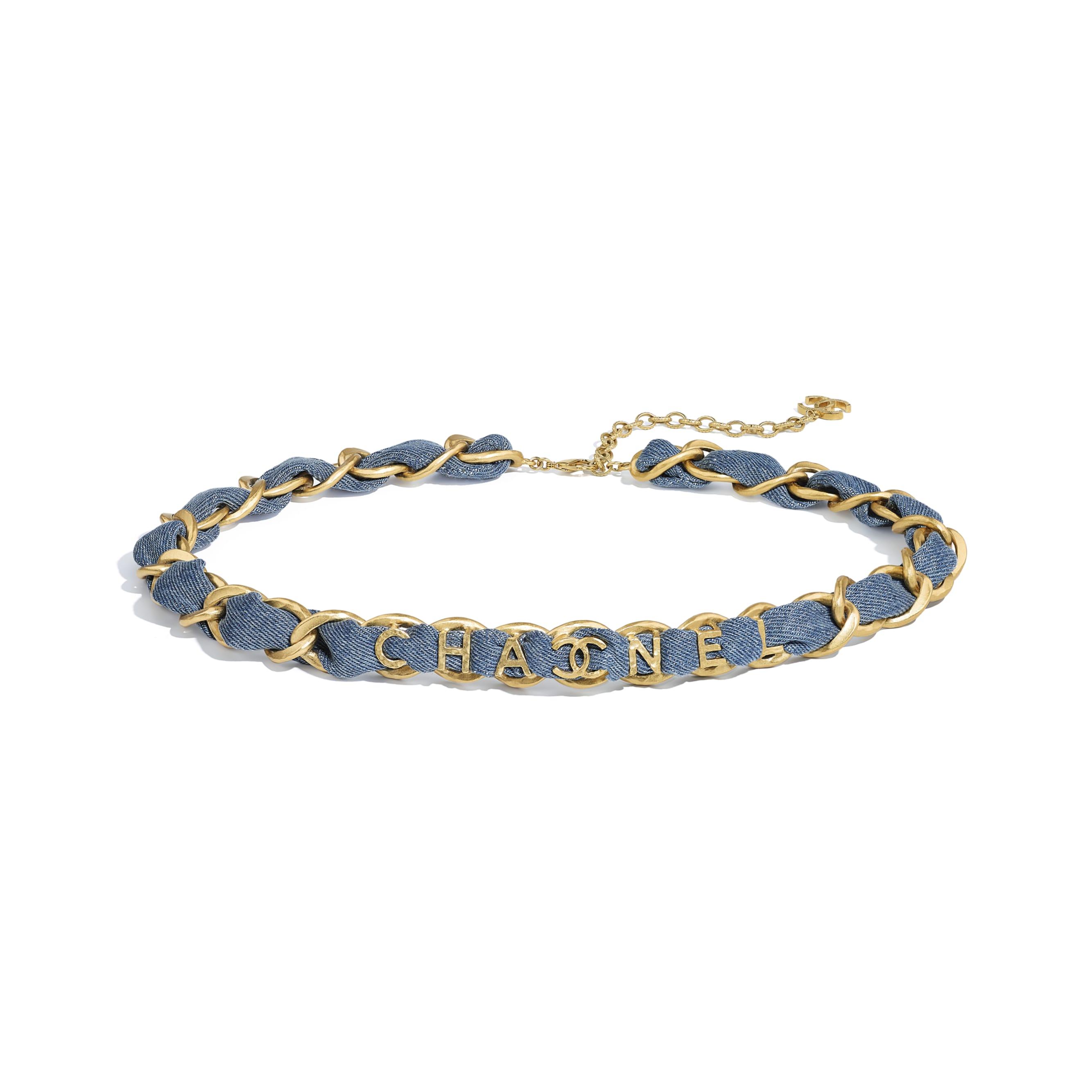 Belt - Gold & Blue - Metal & Denim - CHANEL - Default view - see standard sized version