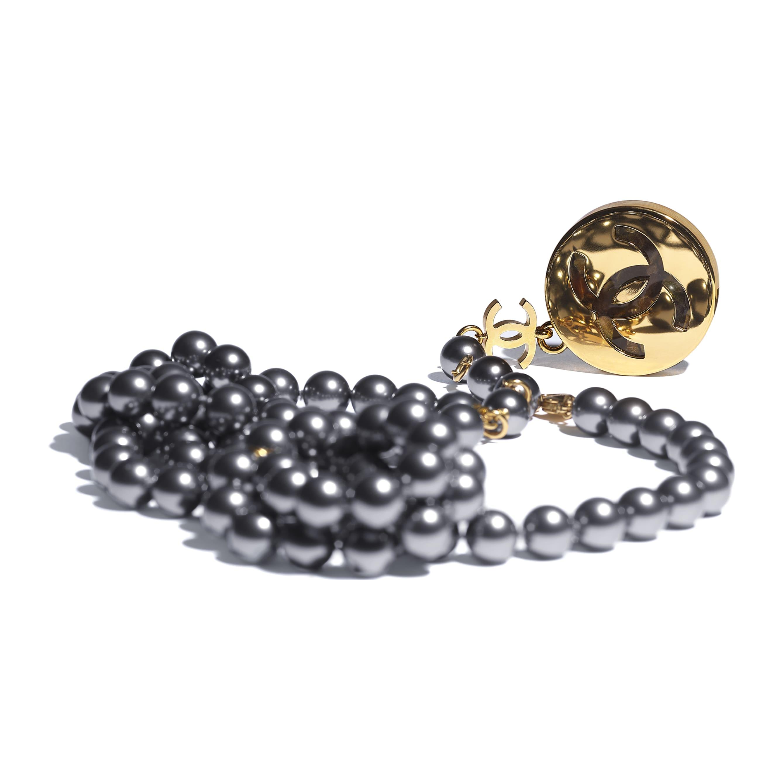 Cintura - Oro, grigio & verde - Metallo, perle in pasta di vetro & resina - CHANEL - Immagine diversa - vedere versione standard