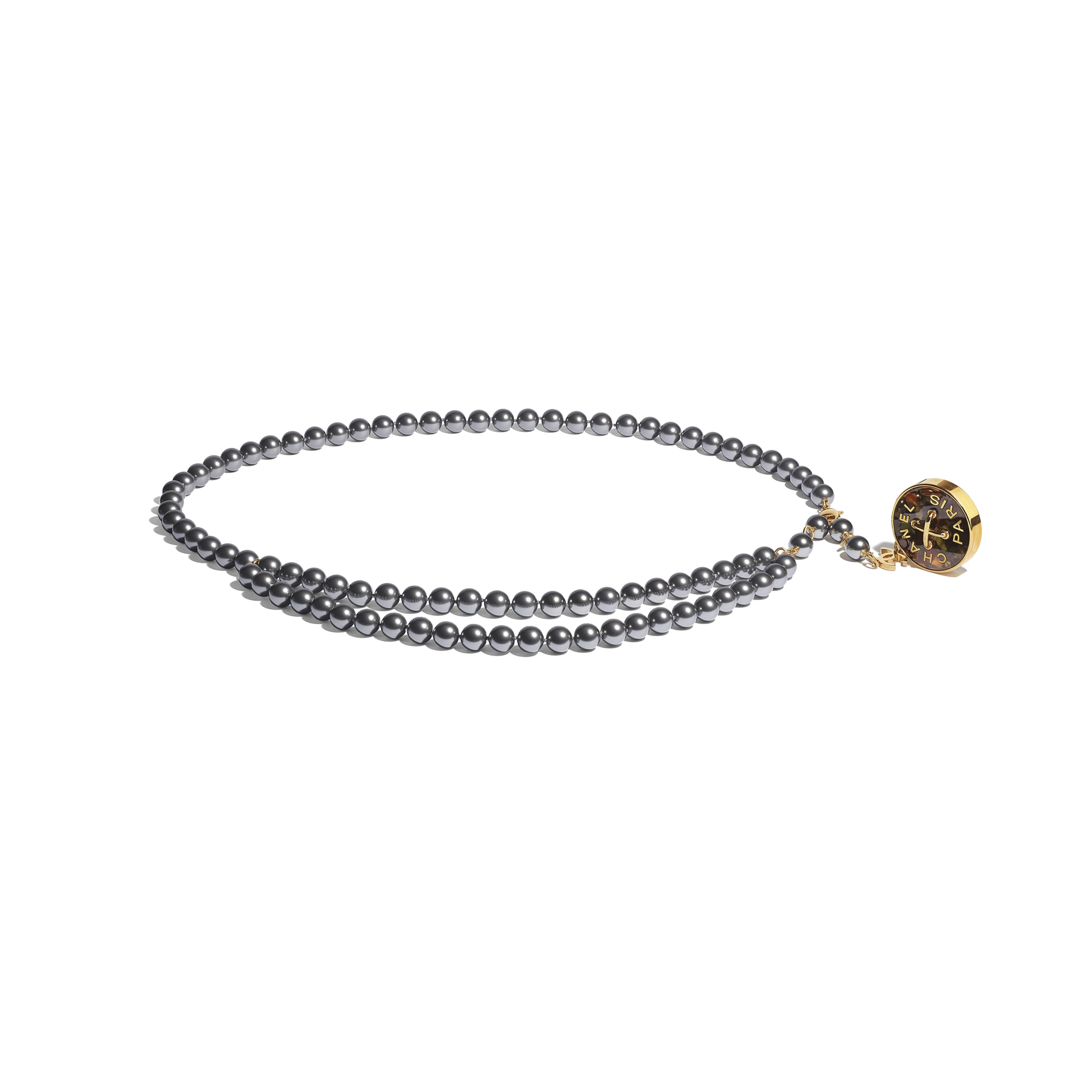 Cintura - Oro, grigio & verde - Metallo, perle in pasta di vetro & resina - CHANEL - Immagine predefinita - vedere versione standard