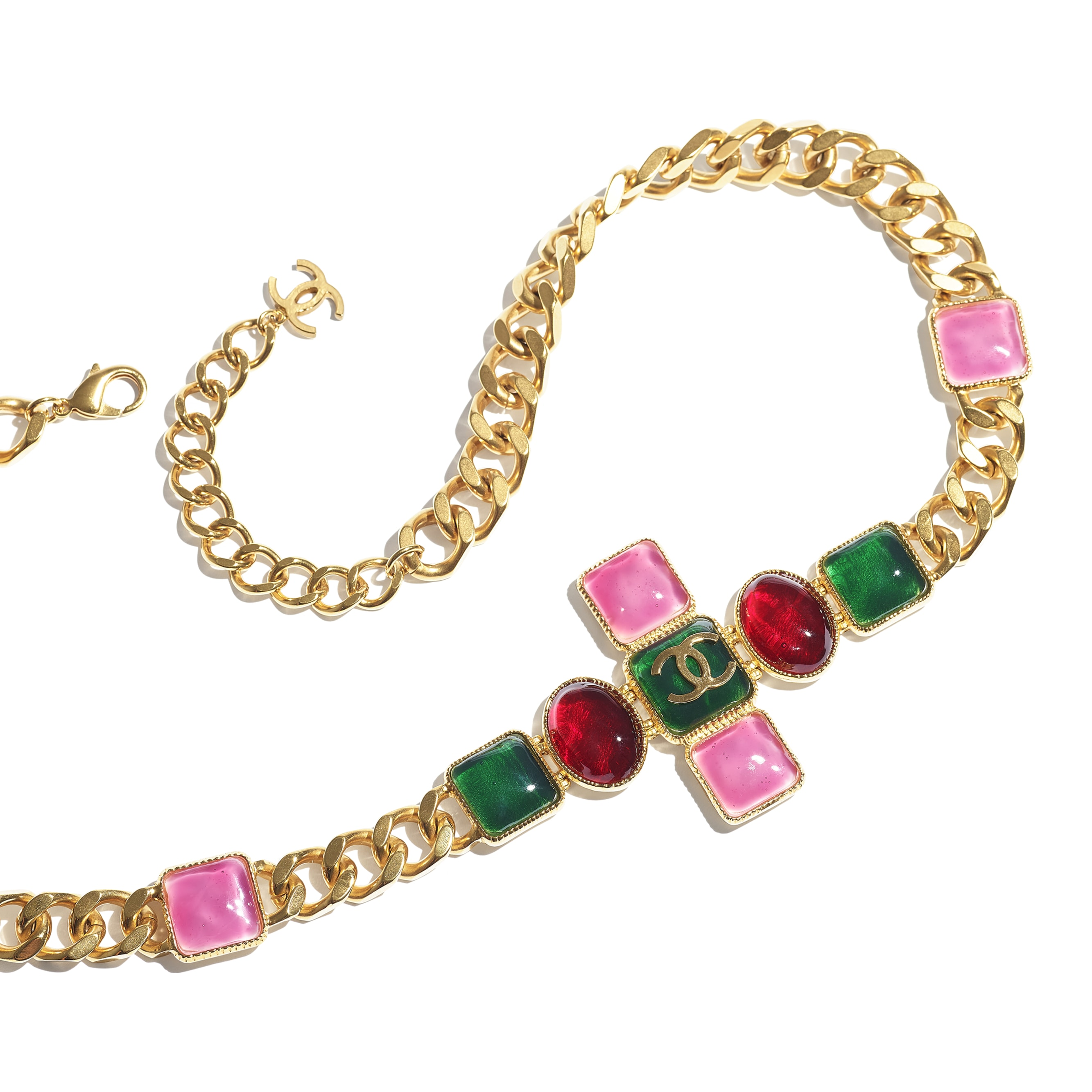 Belt - Gold, Green, Burgundy & Pink - Metal & Resin - CHANEL - Alternative view - see standard sized version