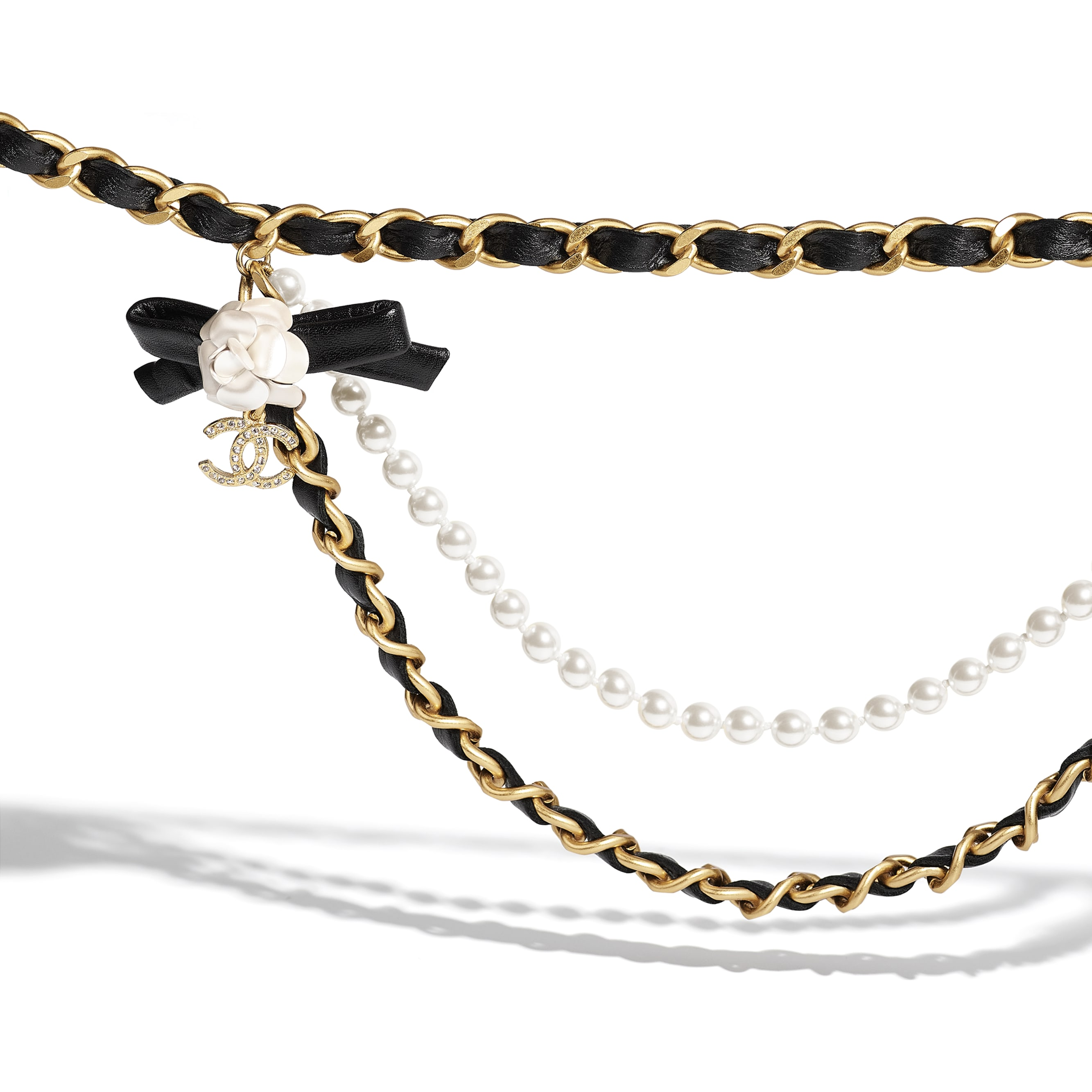 Belt - Gold, Pearly White, Black & Crystal - Metal, glass pearls, calfskin & diamanté - CHANEL - Alternative view - see standard sized version