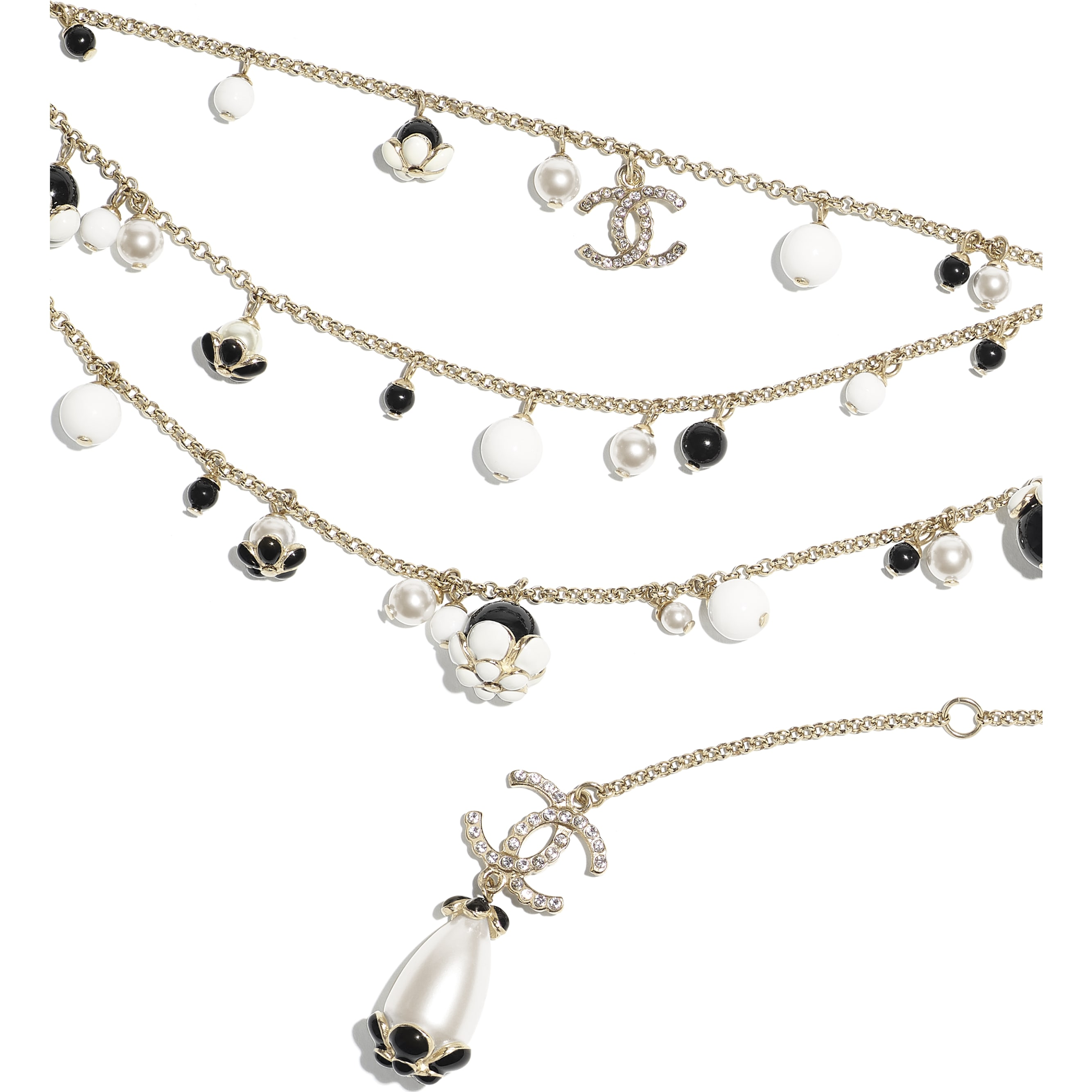 Belt - Gold, Pearly White, Crystal, Black & White - Metal, Glass Pearls, Diamanté & Resin - CHANEL - Alternative view - see standard sized version
