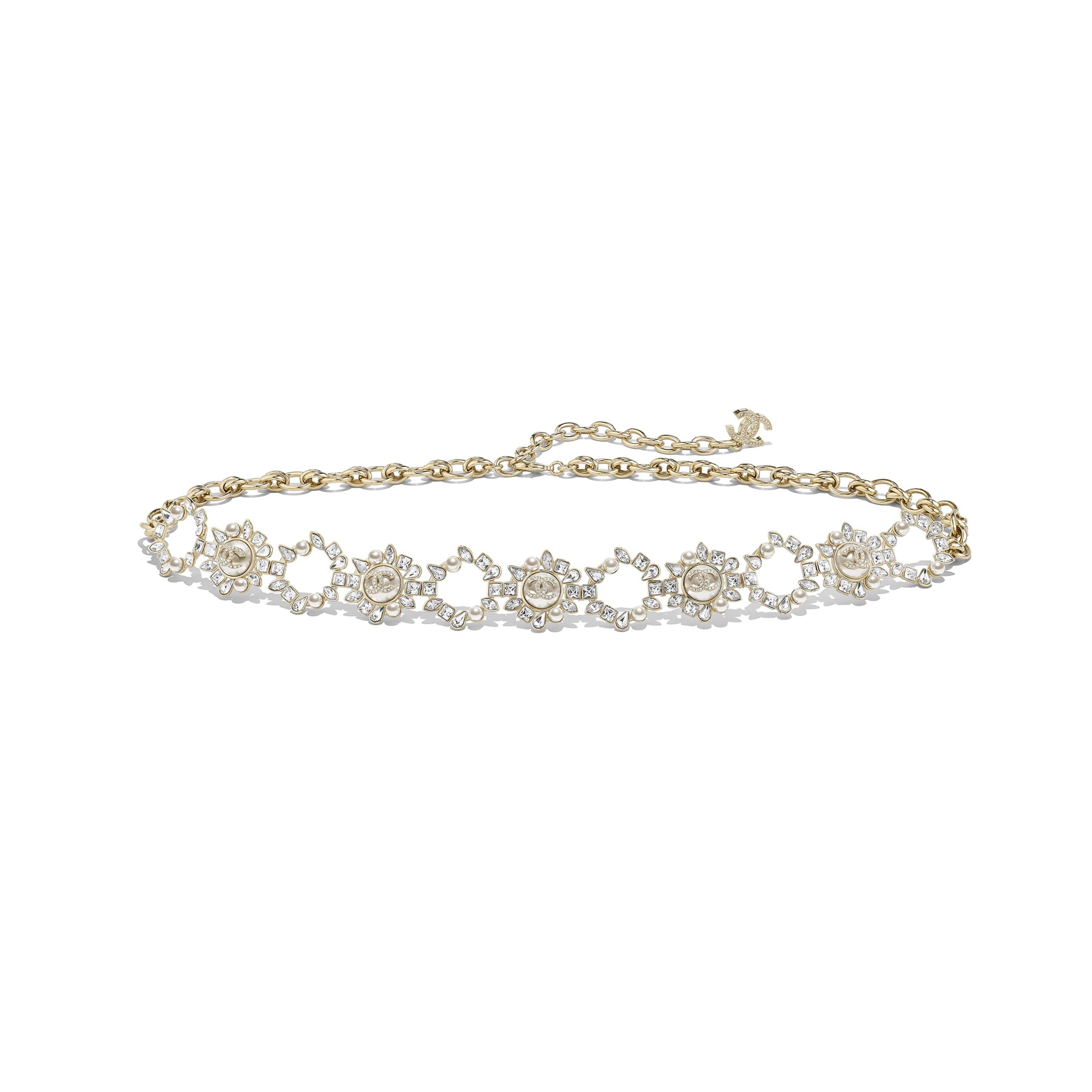 Pasek - Kolor złoty, perłowobiały i krystaliczny - Metal, szklane perły, stras i żywica - Widok domyślny – zobacz w standardowym rozmiarze