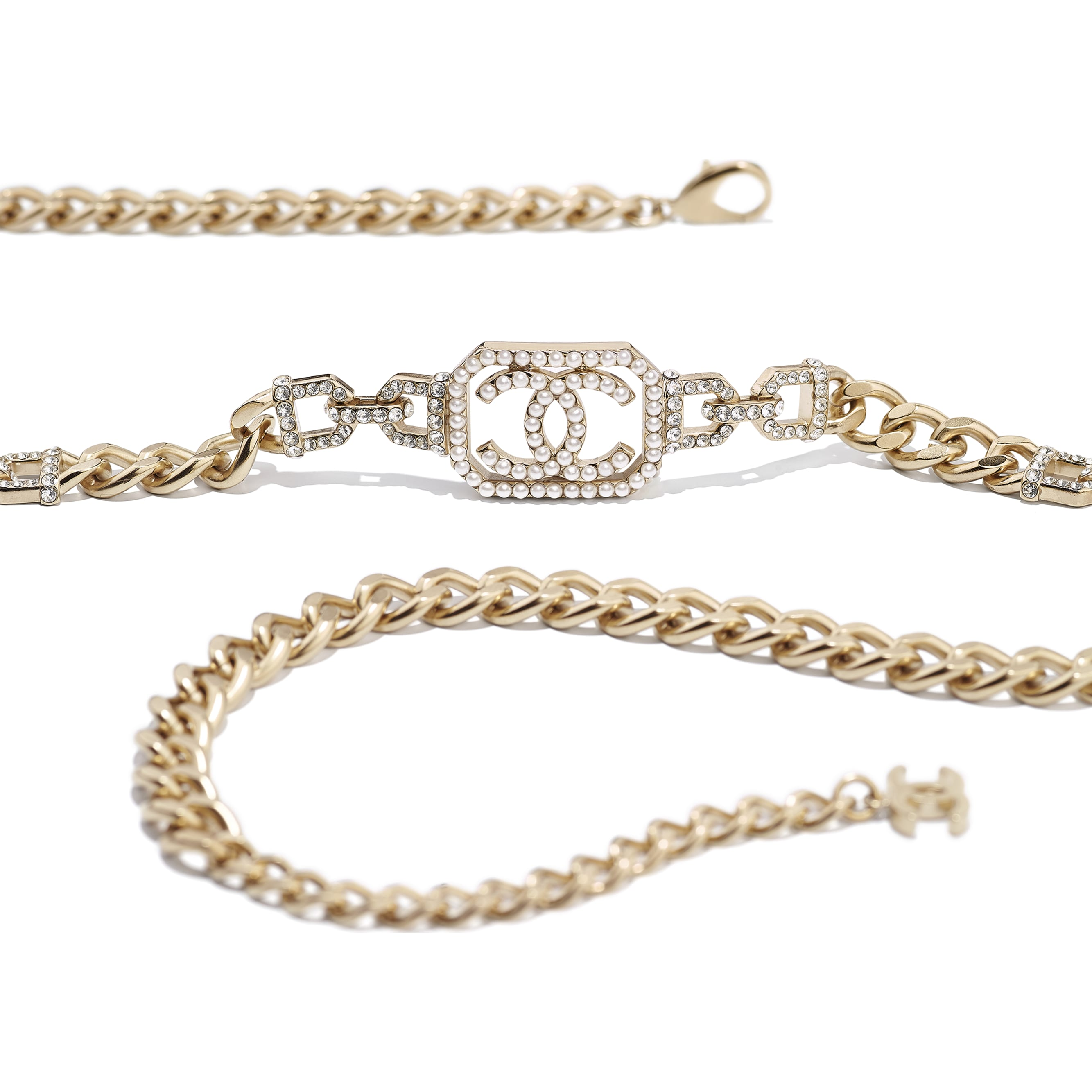 Belt - Gold, Pearly White & Crystal - Metal, Imitation Pearls & Diamanté - CHANEL - Alternative view - see standard sized version