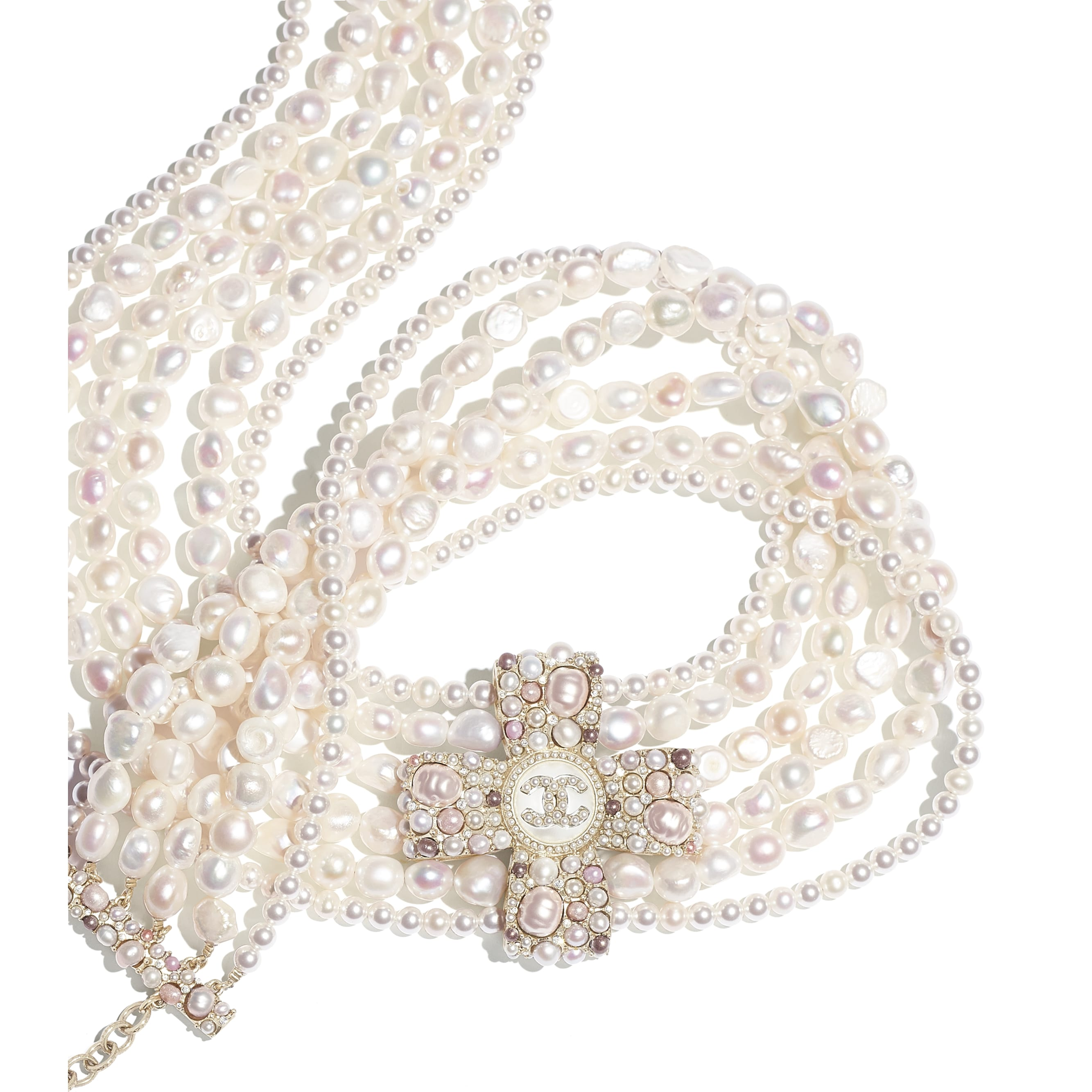Belt - Gold, Pearly White, Pink & Crystal - Metal, Cultured Fresh Water Pearls, Glass Pearls, Imitation Pearls & Diamanté - CHANEL - Alternative view - see standard sized version
