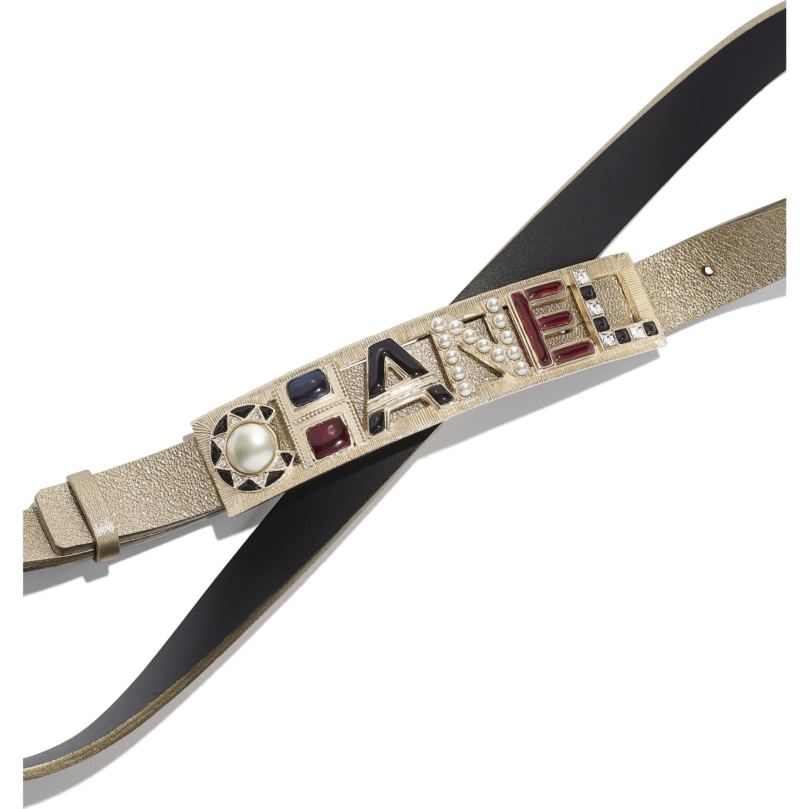 Belt - Gold & Red - Lambskin, Gold-Tone Metal, Glass, Strass & Resin - Alternative view - see standard sized version