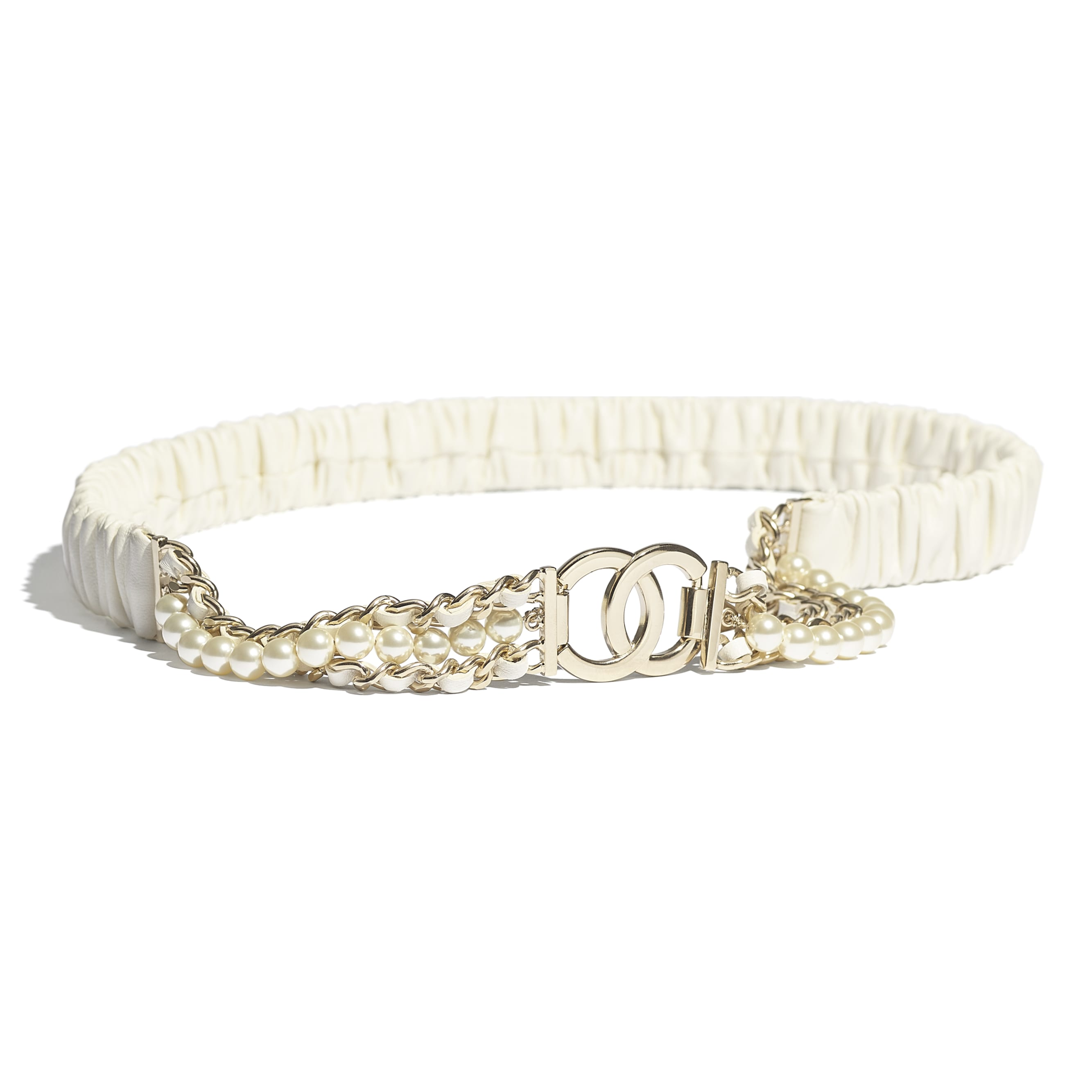 Belt - Ivory - Lambskin, Gold-Tone Metal, Glass Pearls & Strass - CHANEL - Default view - see standard sized version
