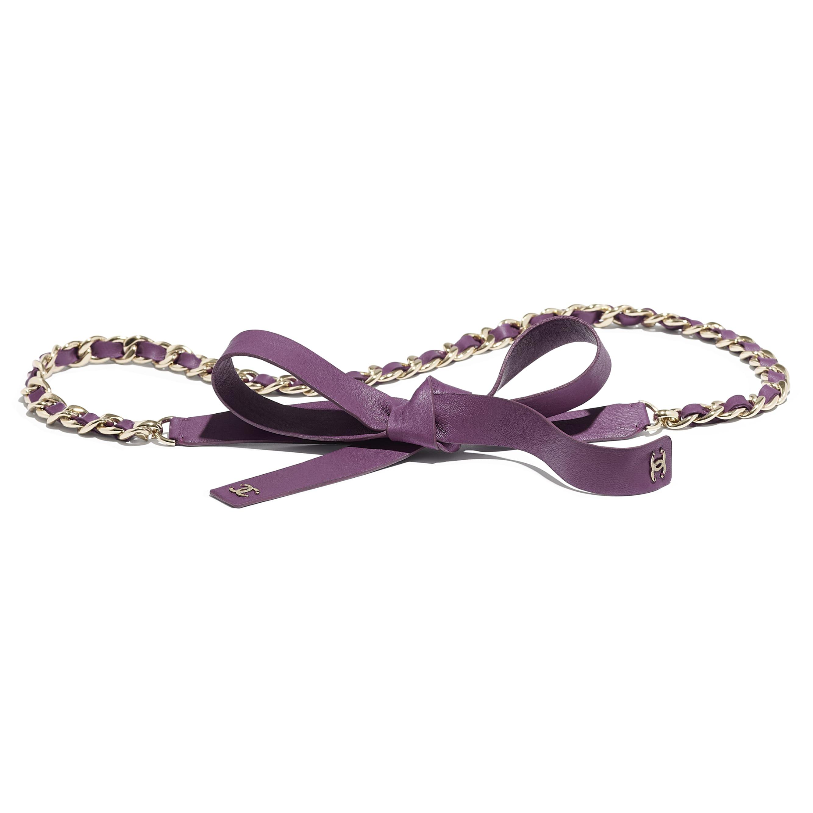 腰帶 - 紫 - 小羊皮與金色金屬 - 預設視圖 - 查看標準尺寸版本