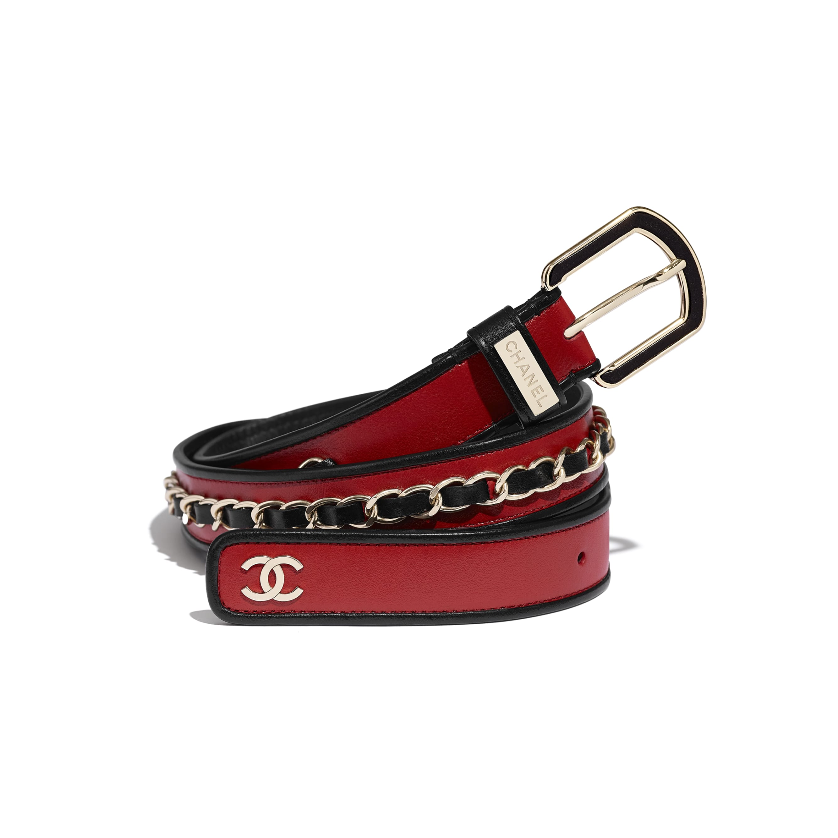 Belt - Red & Black - Calfskin & Gold-Tone Metal - CHANEL - Default view - see standard sized version