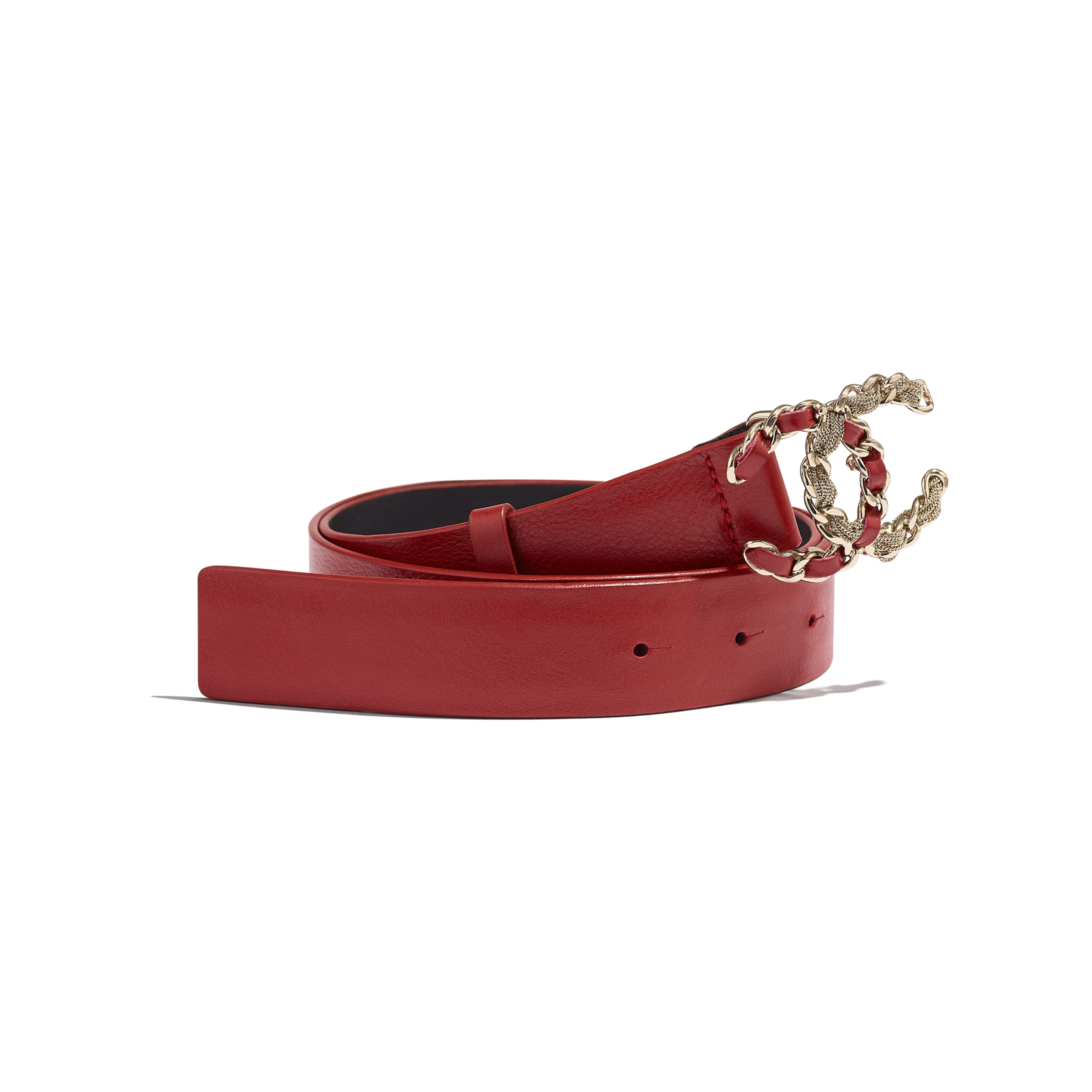 Belt - Red - Calfskin & Gold-Tone Metal - CHANEL - Default view - see standard sized version