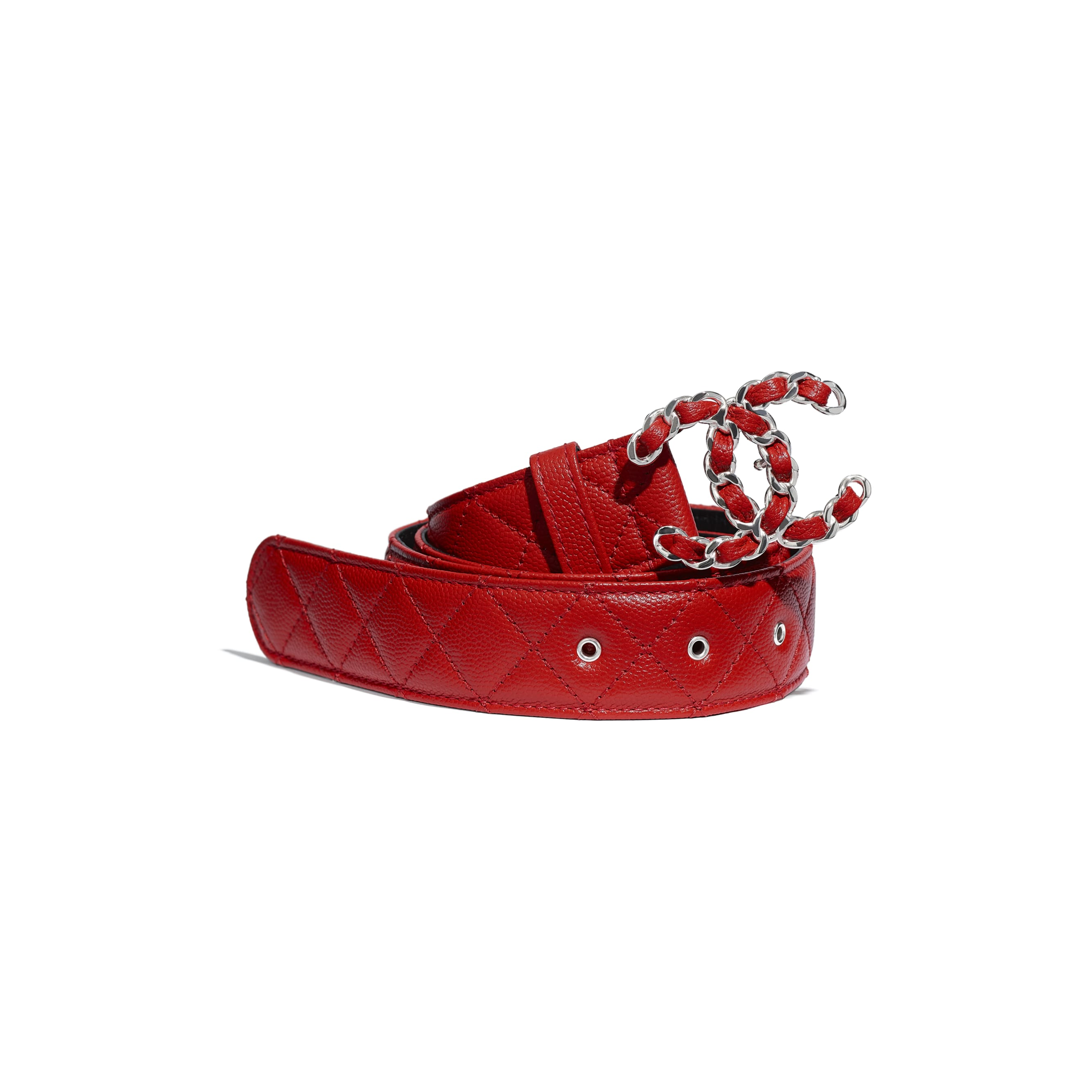 Belt - Red - Calfskin & Silver Metal - CHANEL - Default view - see standard sized version