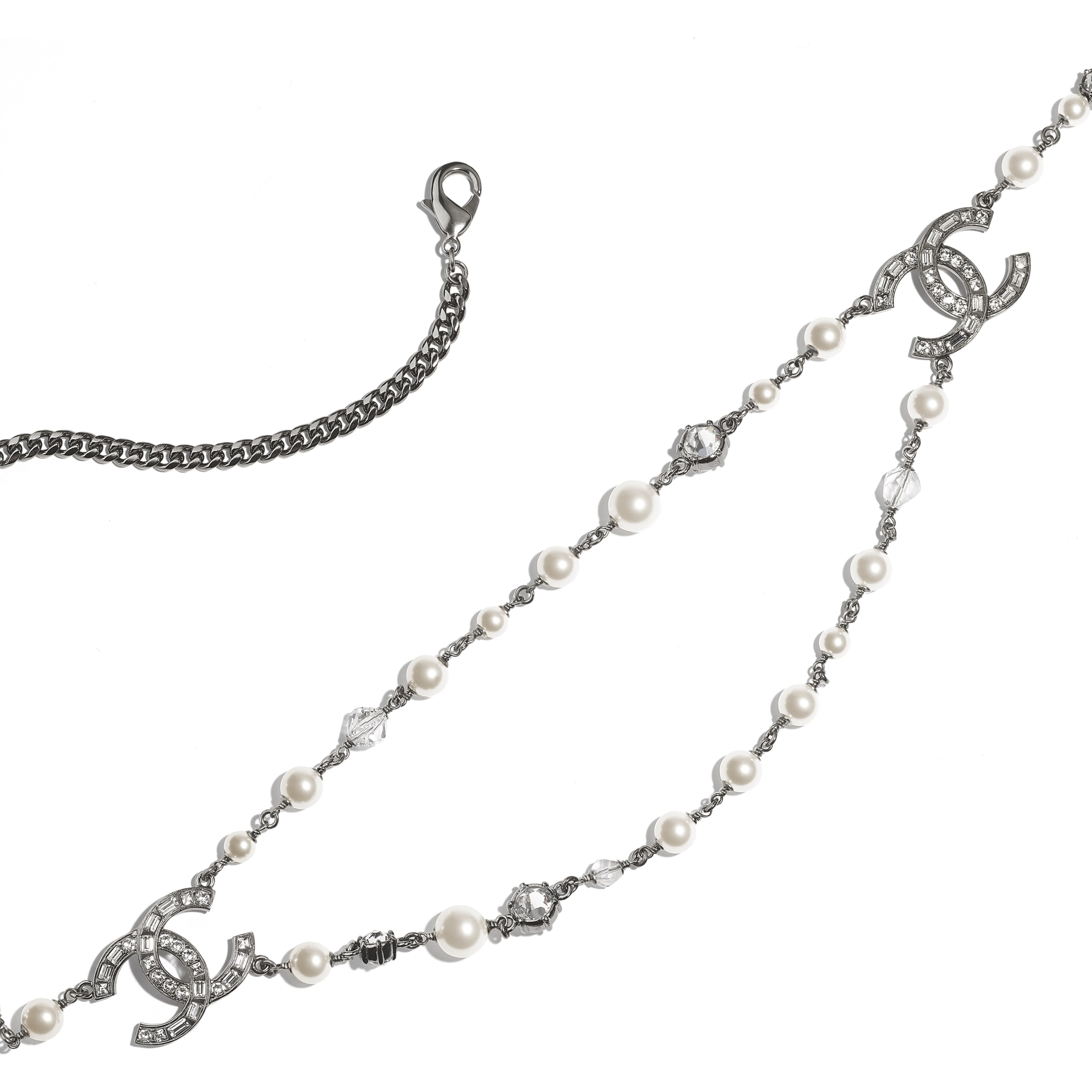 Belt - Ruthenium, Pearly White & Crystal - Metal, Glass Pearls, Glass & Strass - CHANEL - Alternative view - see standard sized version