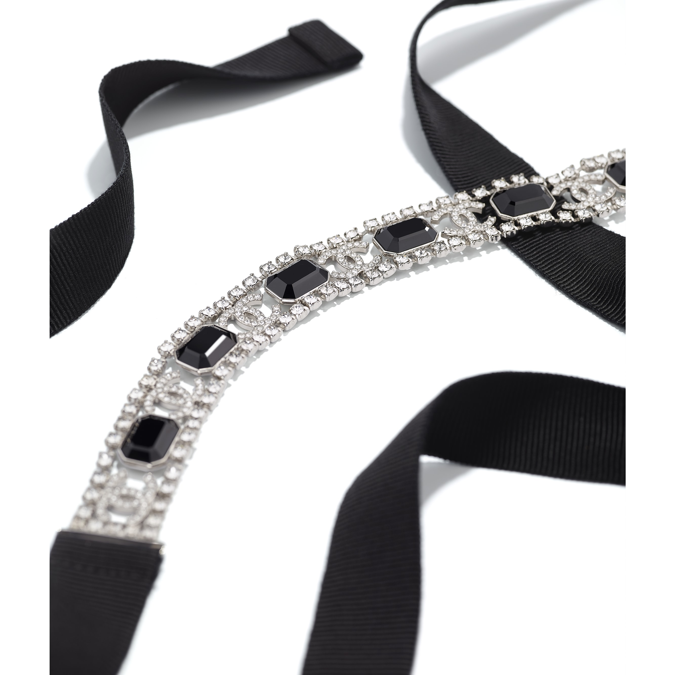 Belt - Silver, Crystal & Black - Metal, Diamanté & Fantasy Fabric - Alternative view - see standard sized version