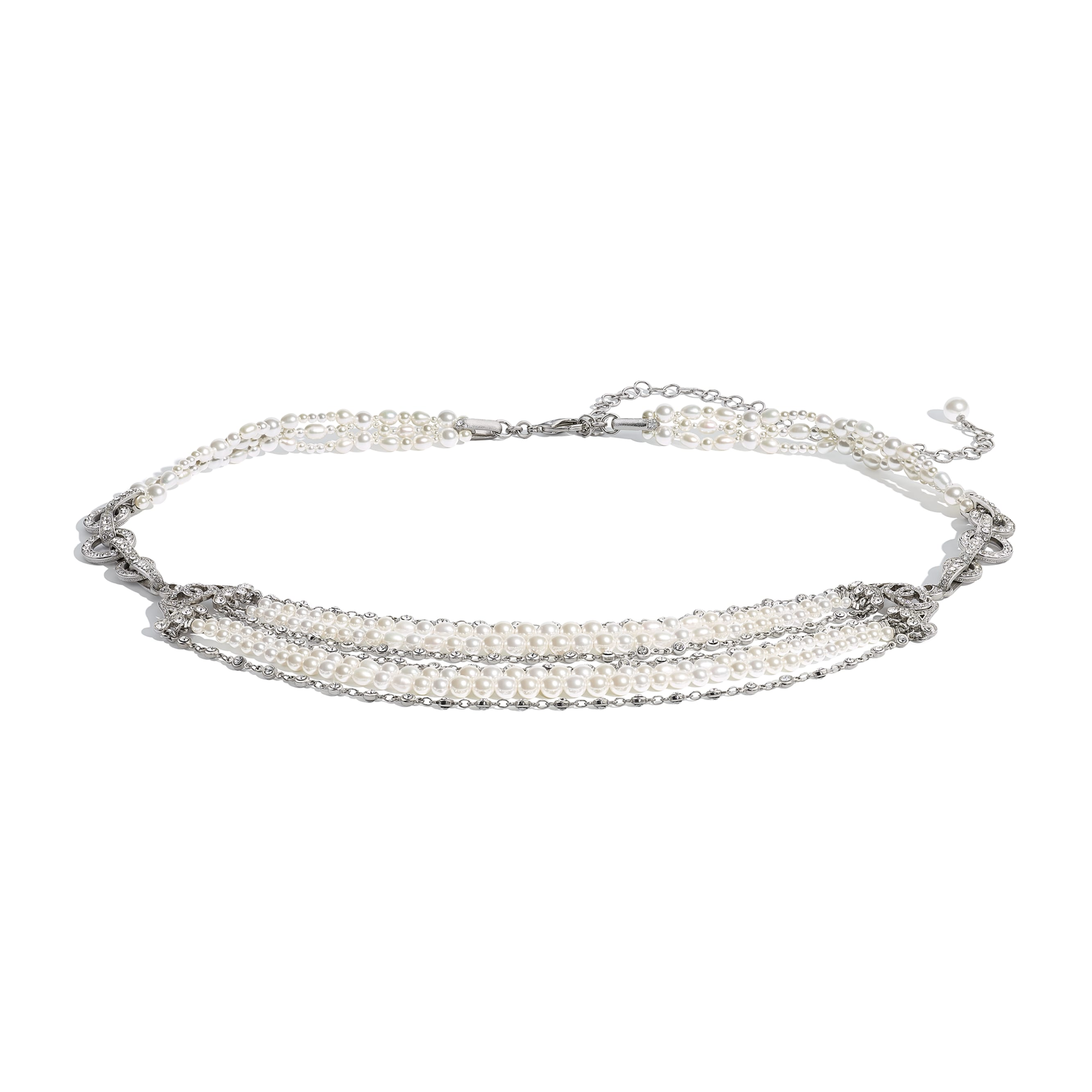 Belt - Silver, Pearly White & Crystal - Metal, Cultured Freshwater Pearls, Glass Pearls & Strass - CHANEL - Default view - see standard sized version