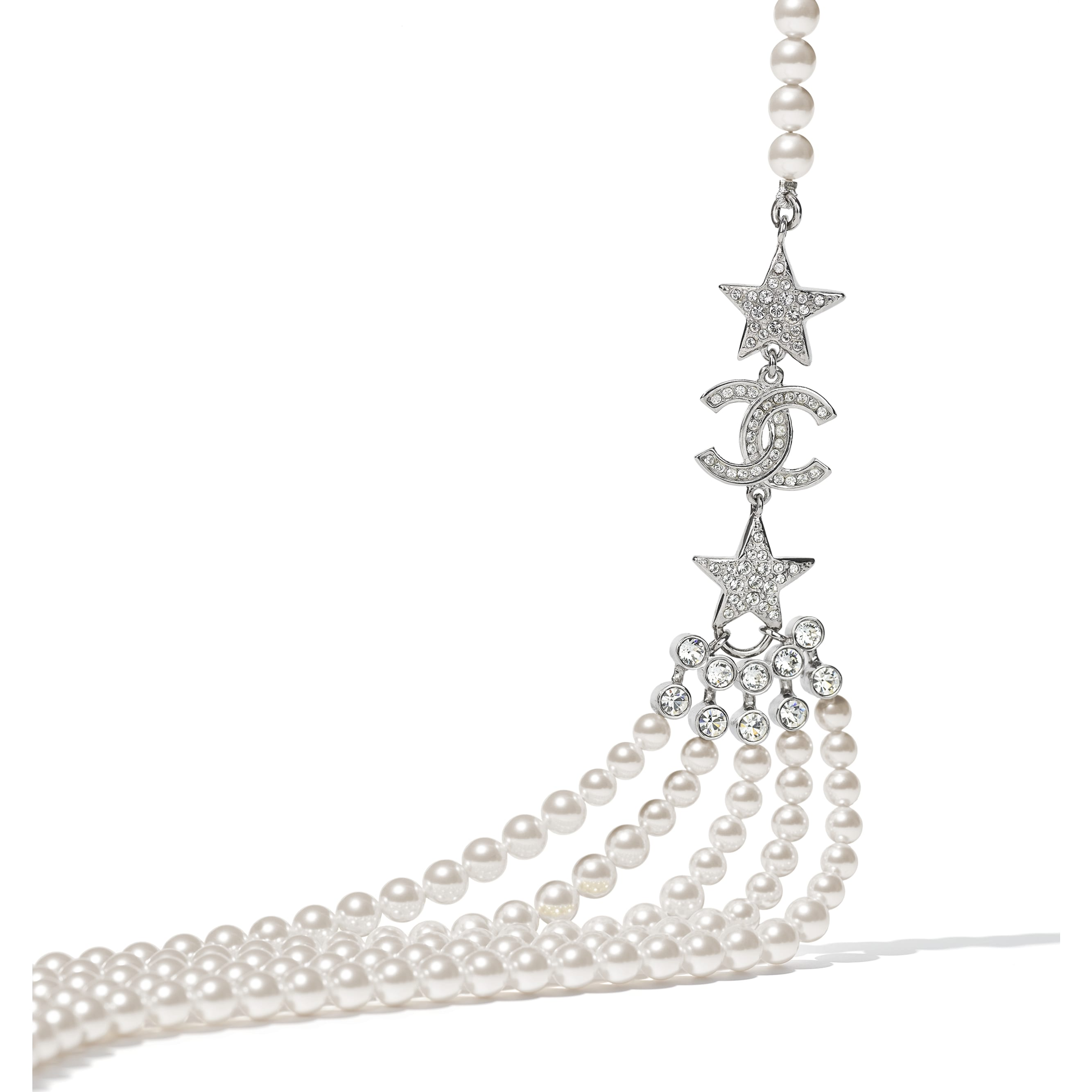 Belt - Silver, Pearly White & Crystal - Metal, Glass Pearls & Diamantés - CHANEL - Alternative view - see standard sized version