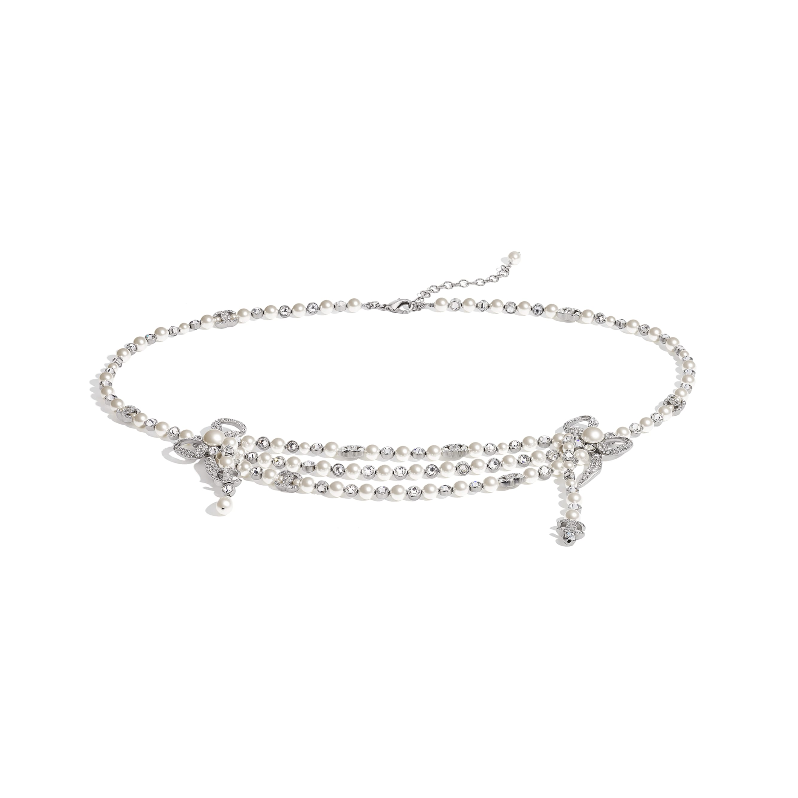 Belt - Silver, Pearly White & Crystal - Metal, Glass Pearls & Diamantés - CHANEL - Default view - see standard sized version