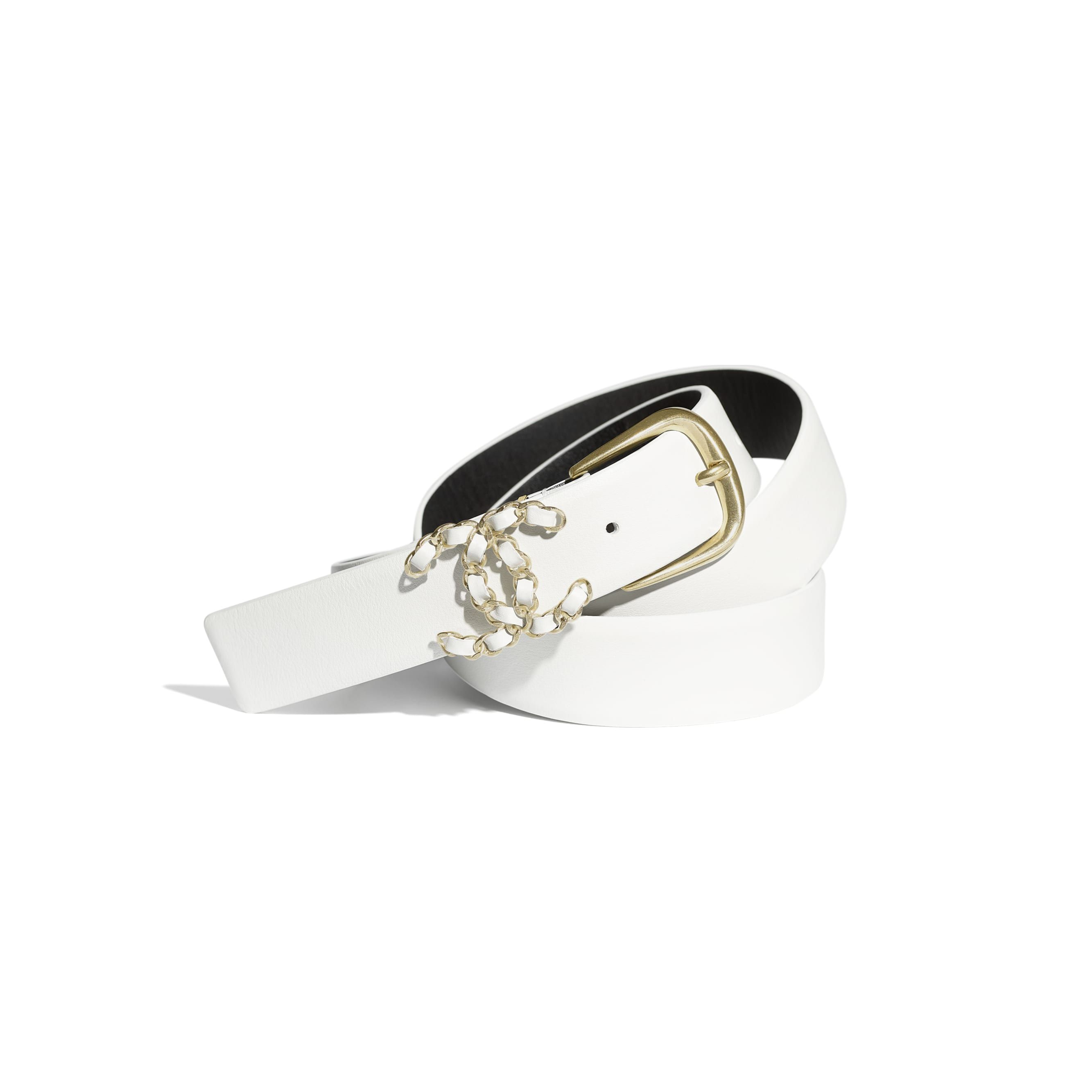 Belt - White - Calfskin & Gold-Tone Metal - CHANEL - Default view - see standard sized version
