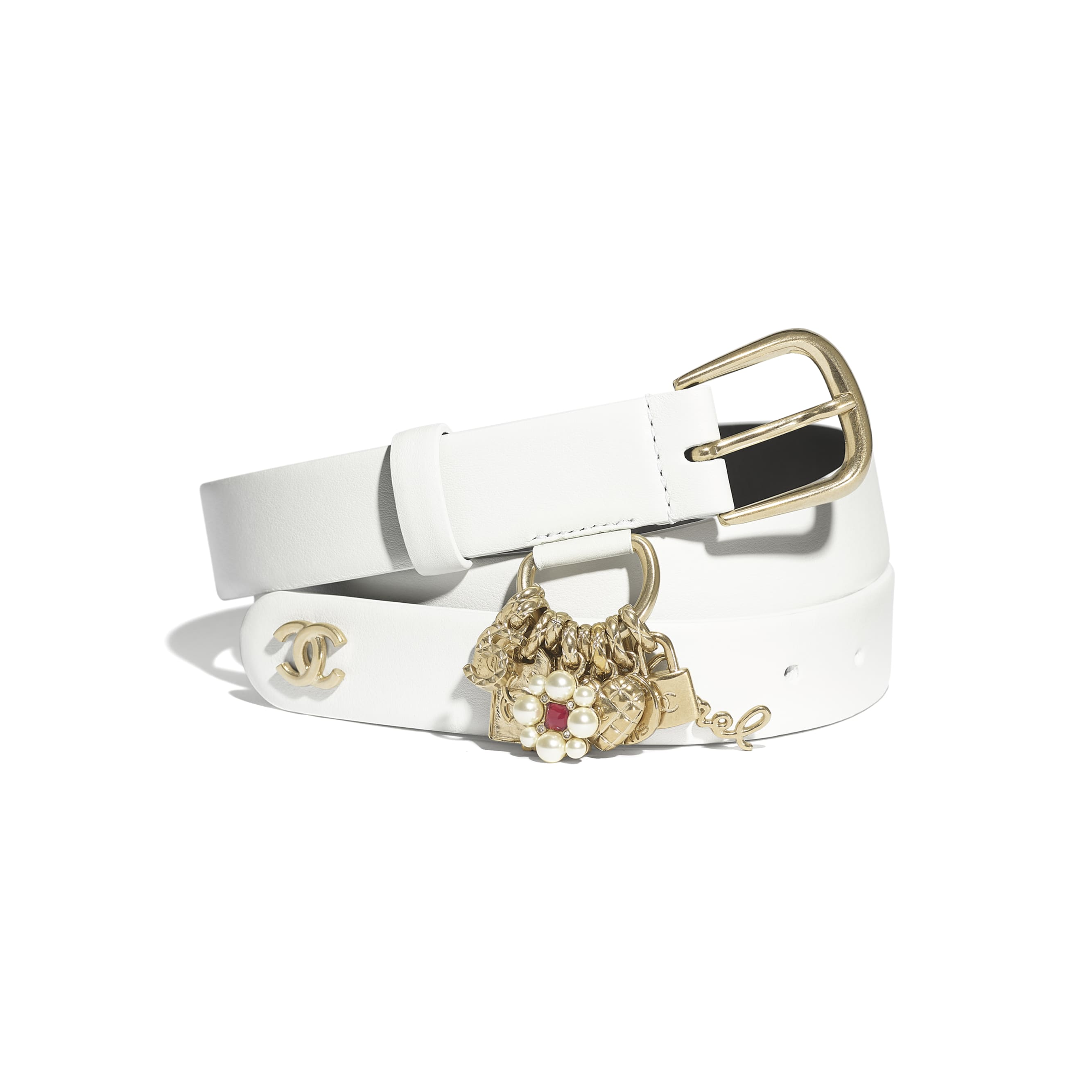 Belt - White - Calfskin, Gold-Tone Metal & Glass Pearls - CHANEL - Default view - see standard sized version