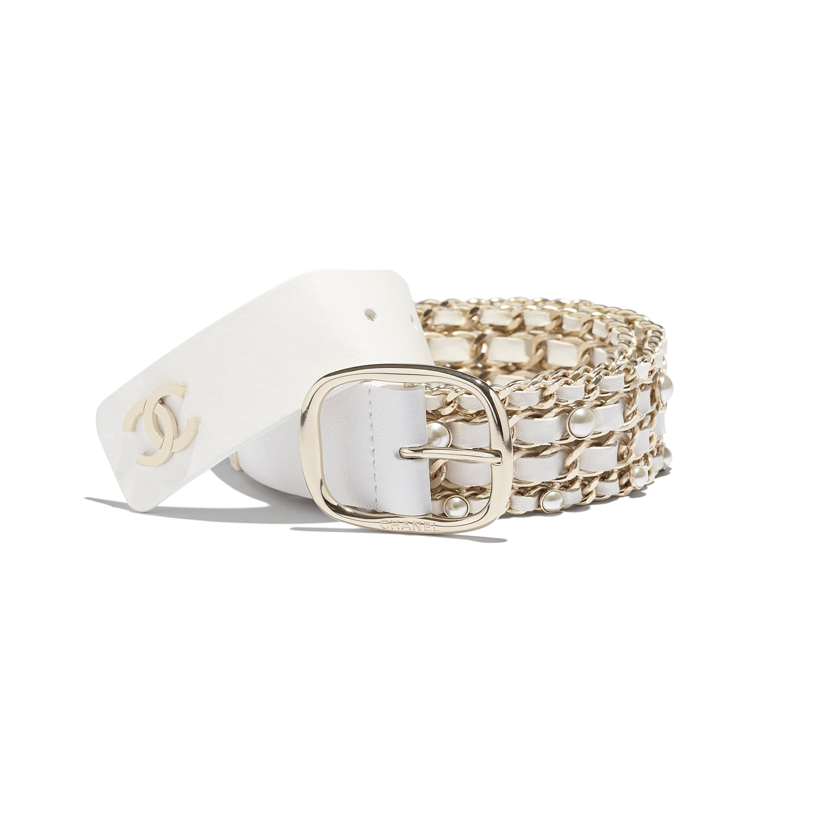 Belt - White - Lambskin, Gold-Tone Metal & Glass Pearls - Alternative view - see standard sized version