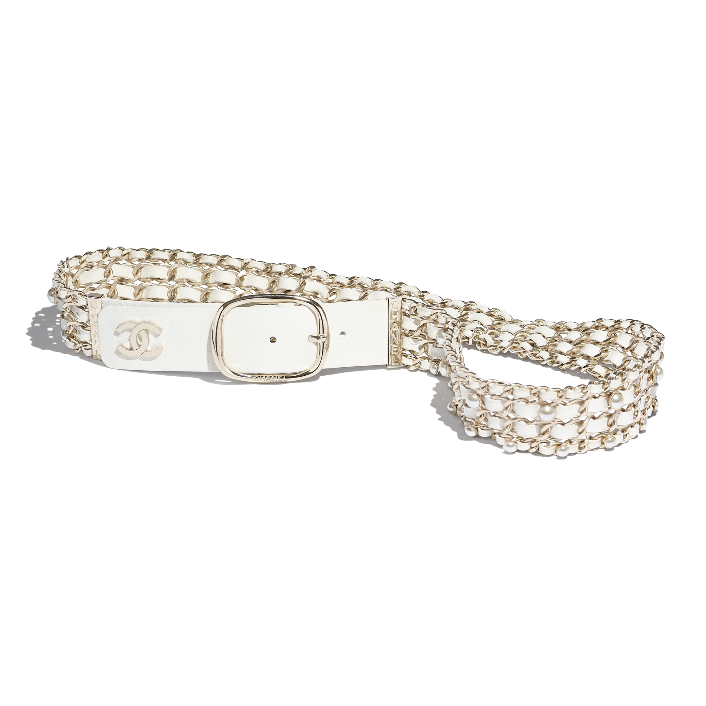 Belt - White - Lambskin, Gold-Tone Metal & Glass Pearls - Default view - see standard sized version