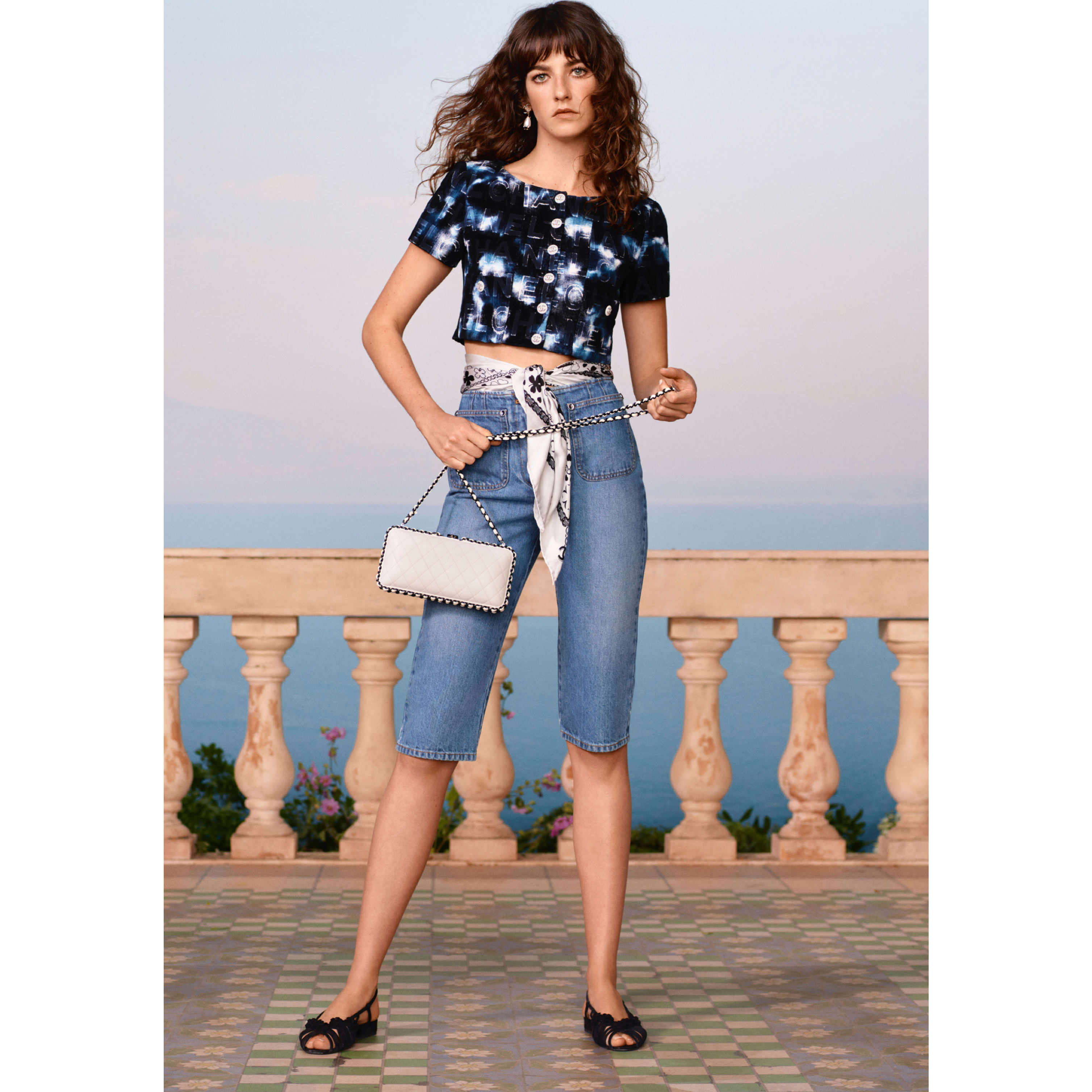 Bermuda Shorts - Blue - Washed Out Denim - CHANEL - Default view - see standard sized version