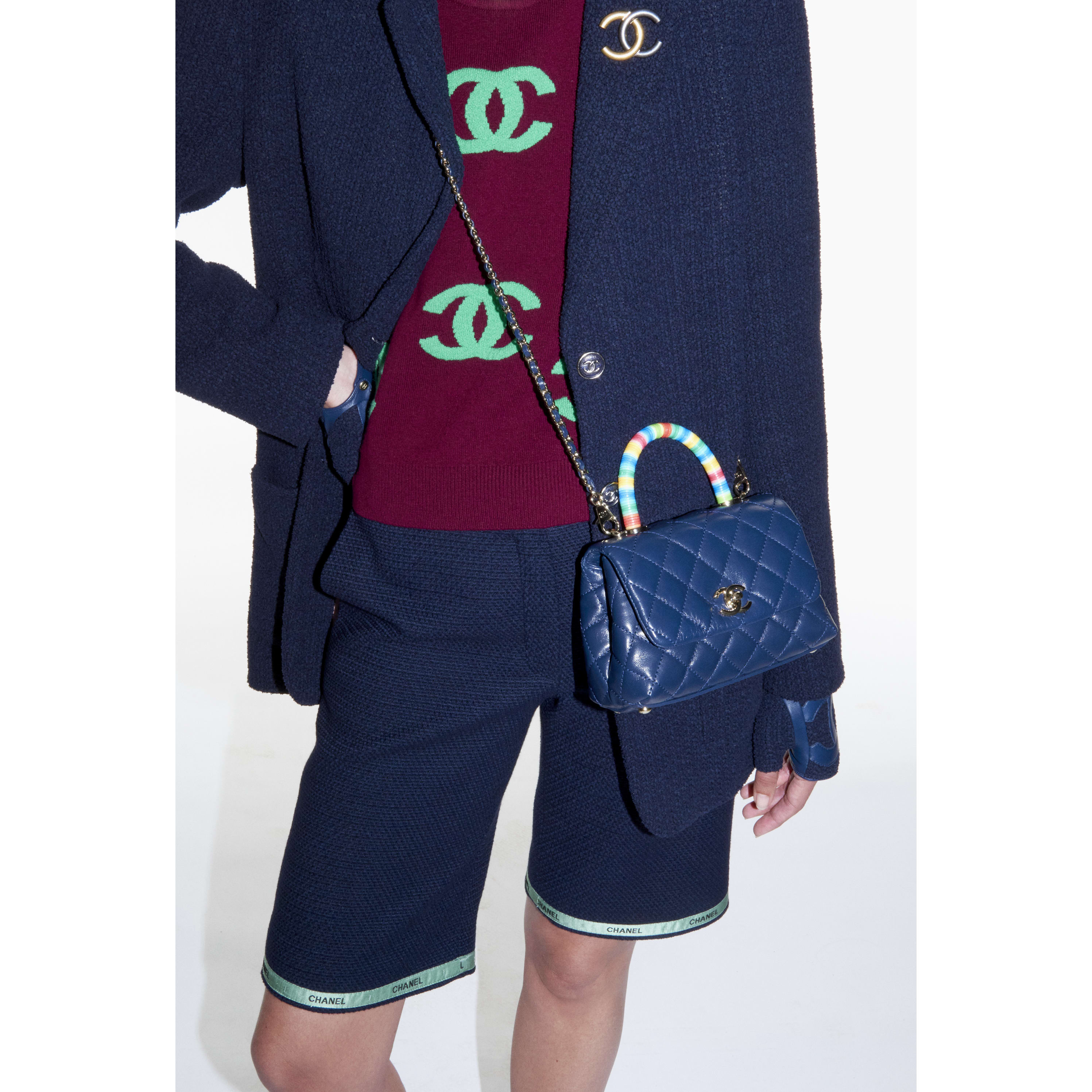Bermuda Shorts - Navy Blue & Green - Cotton Tweed - CHANEL - Alternative view - see standard sized version