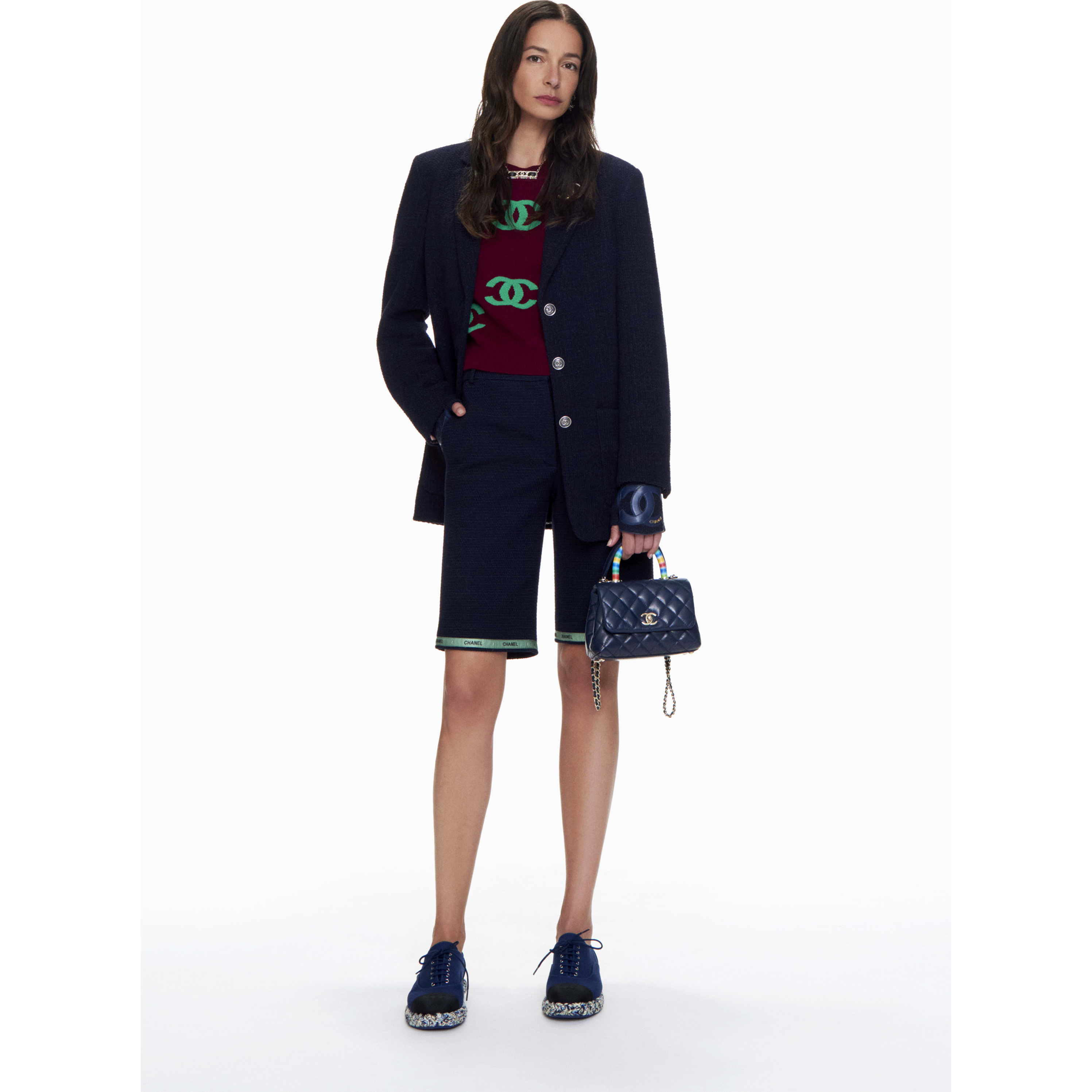 Bermuda Shorts - Navy Blue & Green - Cotton Tweed - CHANEL - Default view - see standard sized version
