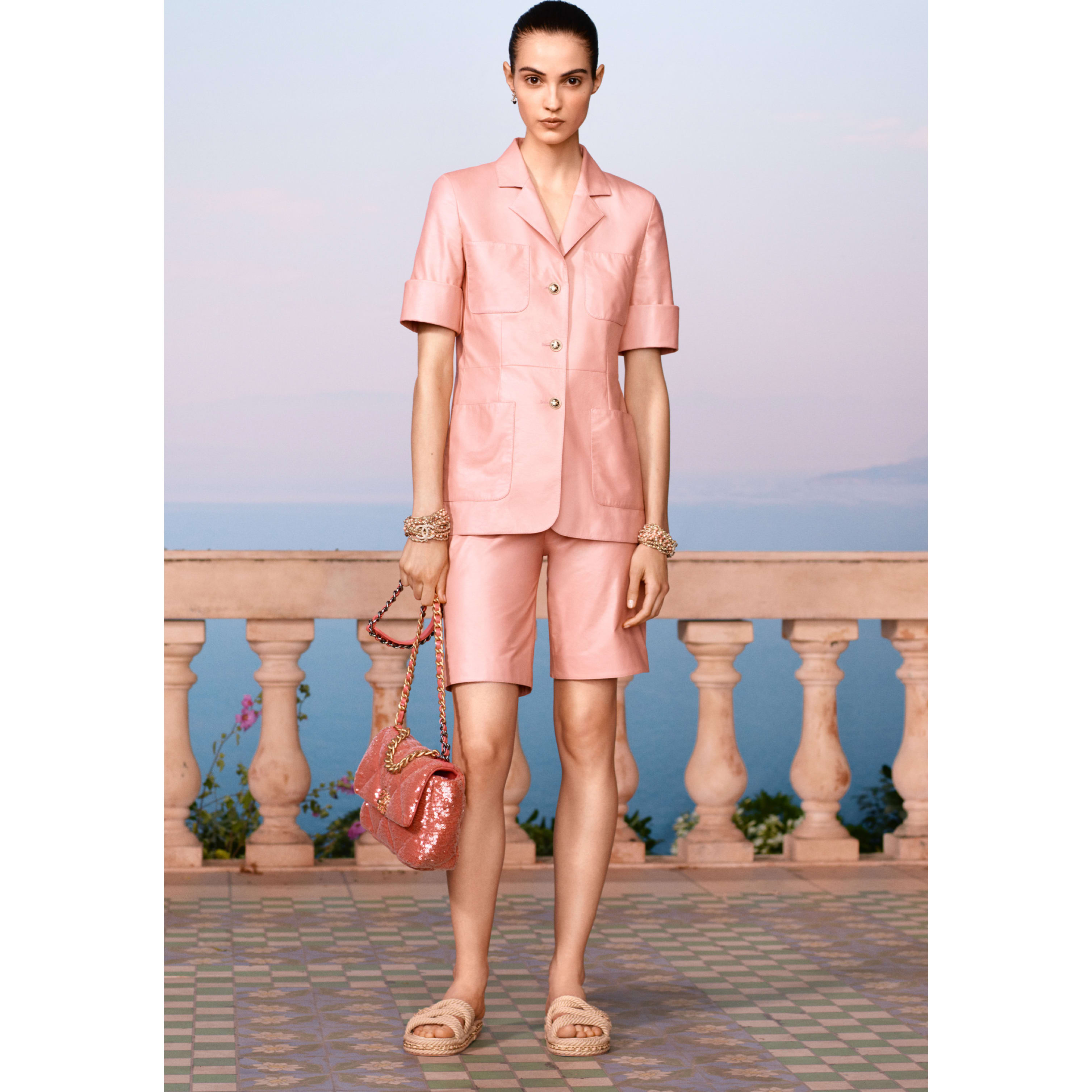 Bermuda Shorts - Pale Pink - Calfskin - CHANEL - Default view - see standard sized version