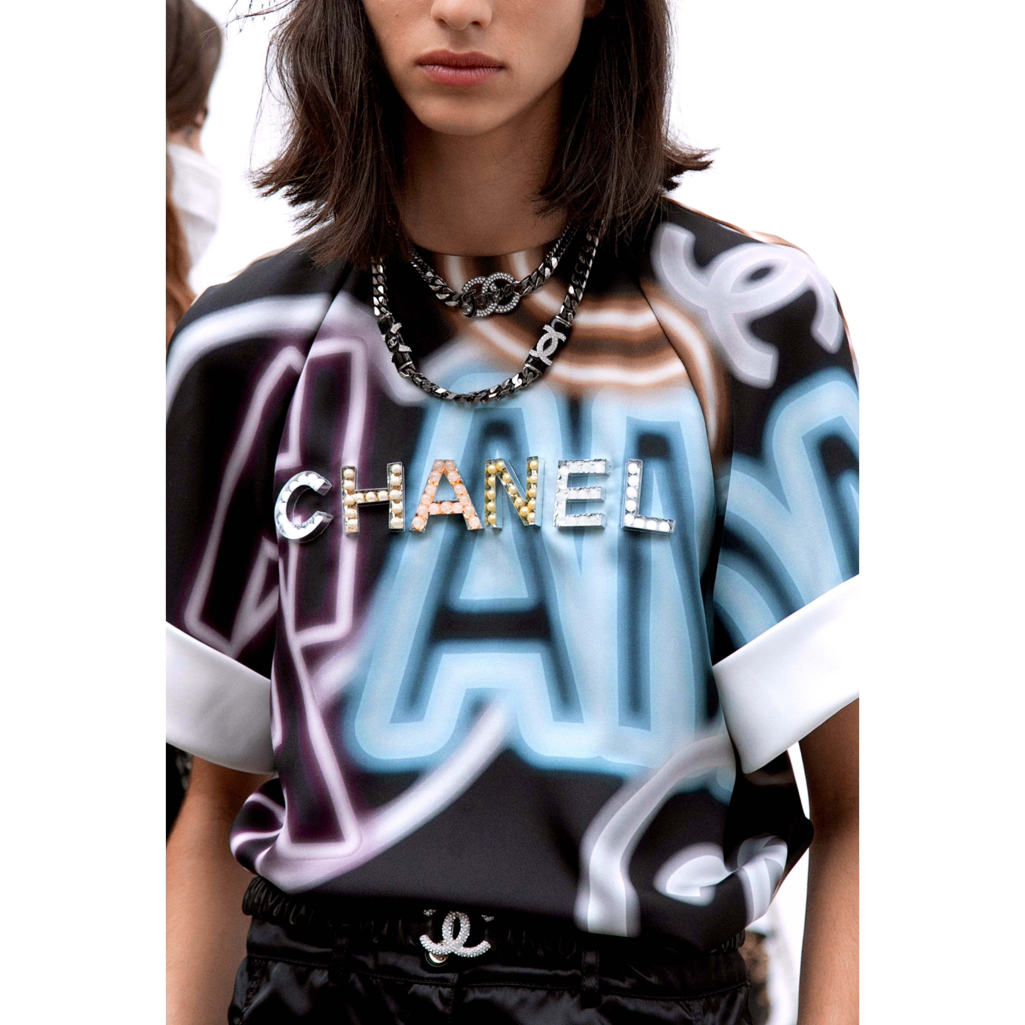 Blouse - Black & Multicolour - Embroidered printed silk - CHANEL - Alternative view - see standard sized version