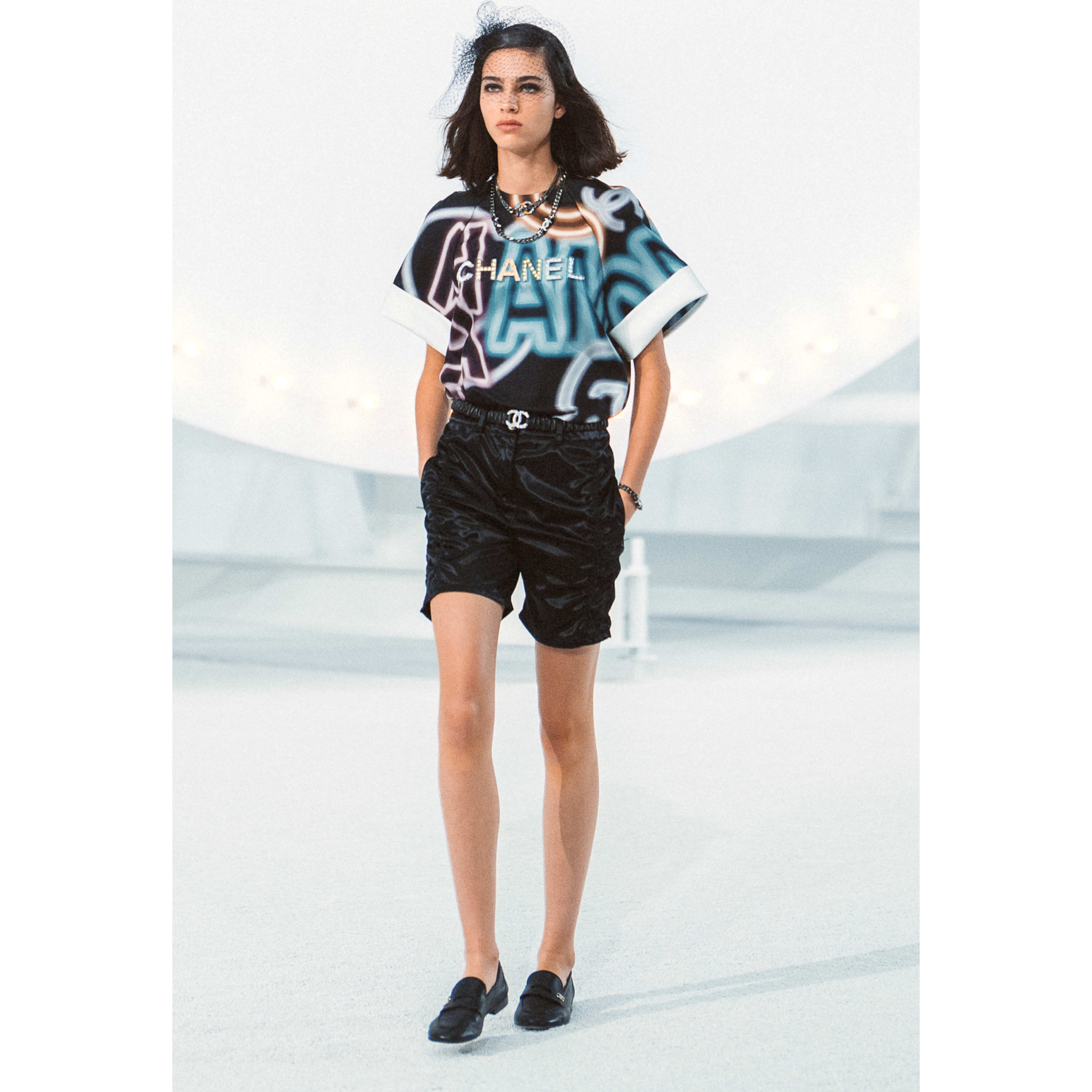 Blouse - Black & Multicolour - Embroidered printed silk - CHANEL - Default view - see standard sized version