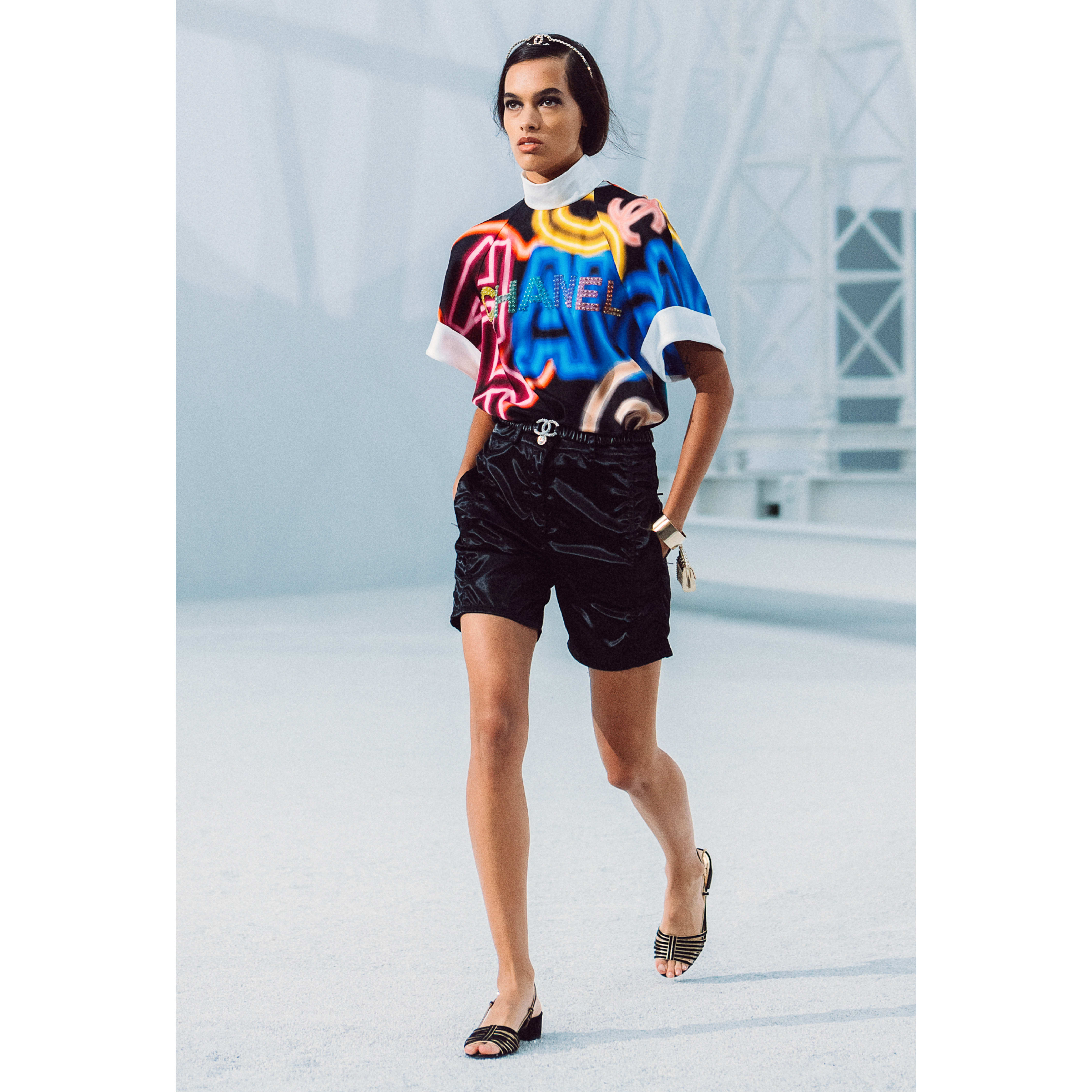 Blouse - Black & Multicolor - Embroidered printed silk - CHANEL - Default view - see standard sized version