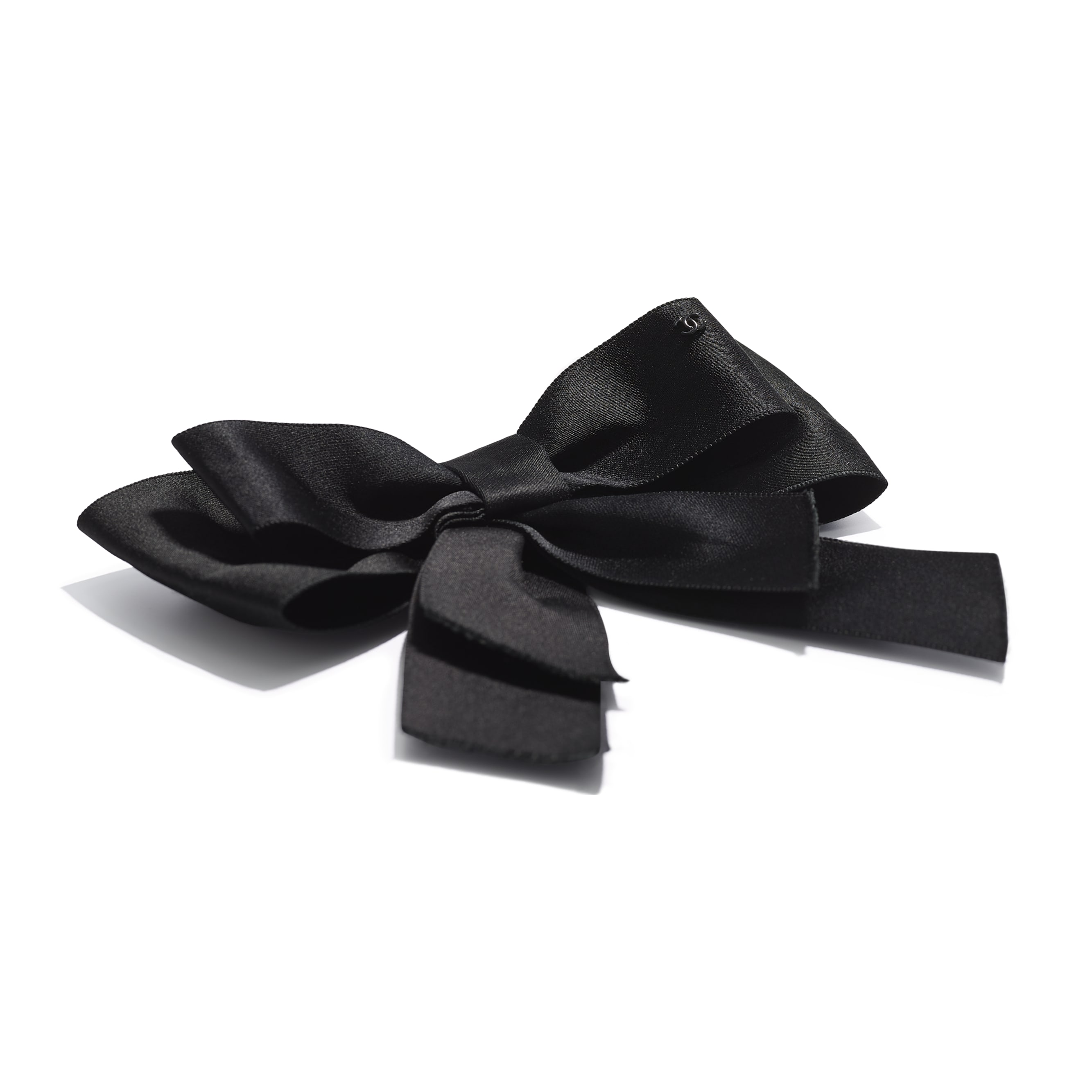 Bow - Black - Silk Satin - Alternative view - see standard sized version